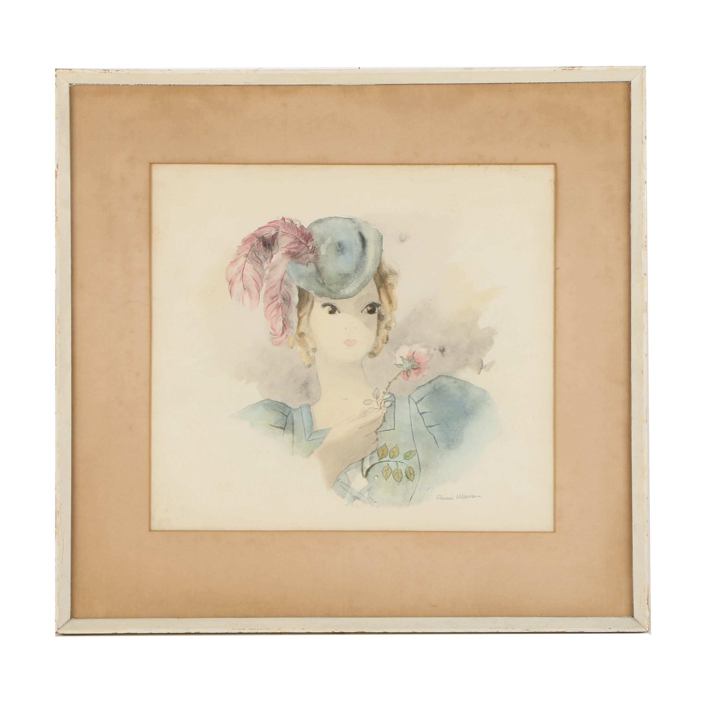 Hand-colored Lithograph on Paper of Woman