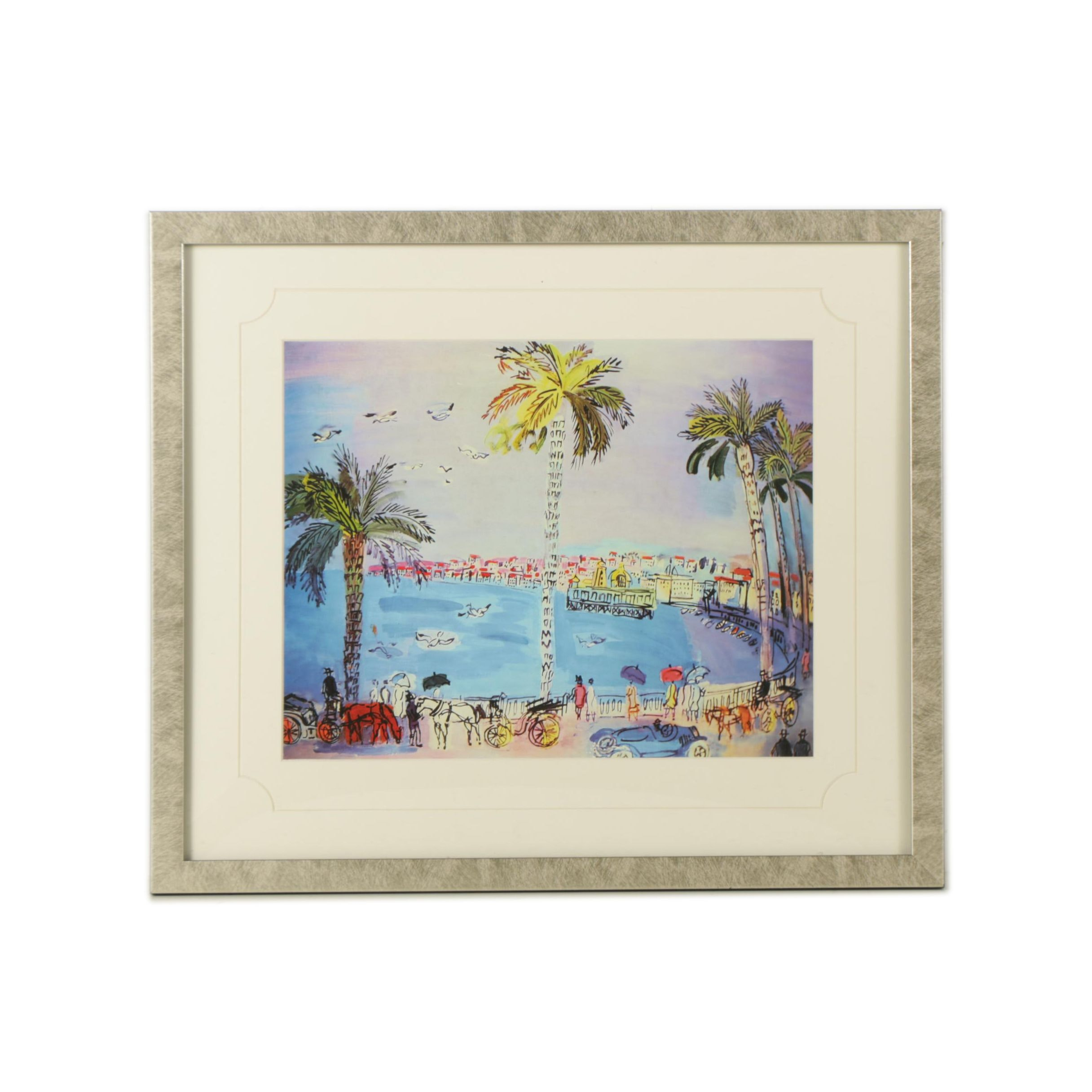"Offset lithograph on Paper After Raoul Dufy ""Blue Palm Trees"""