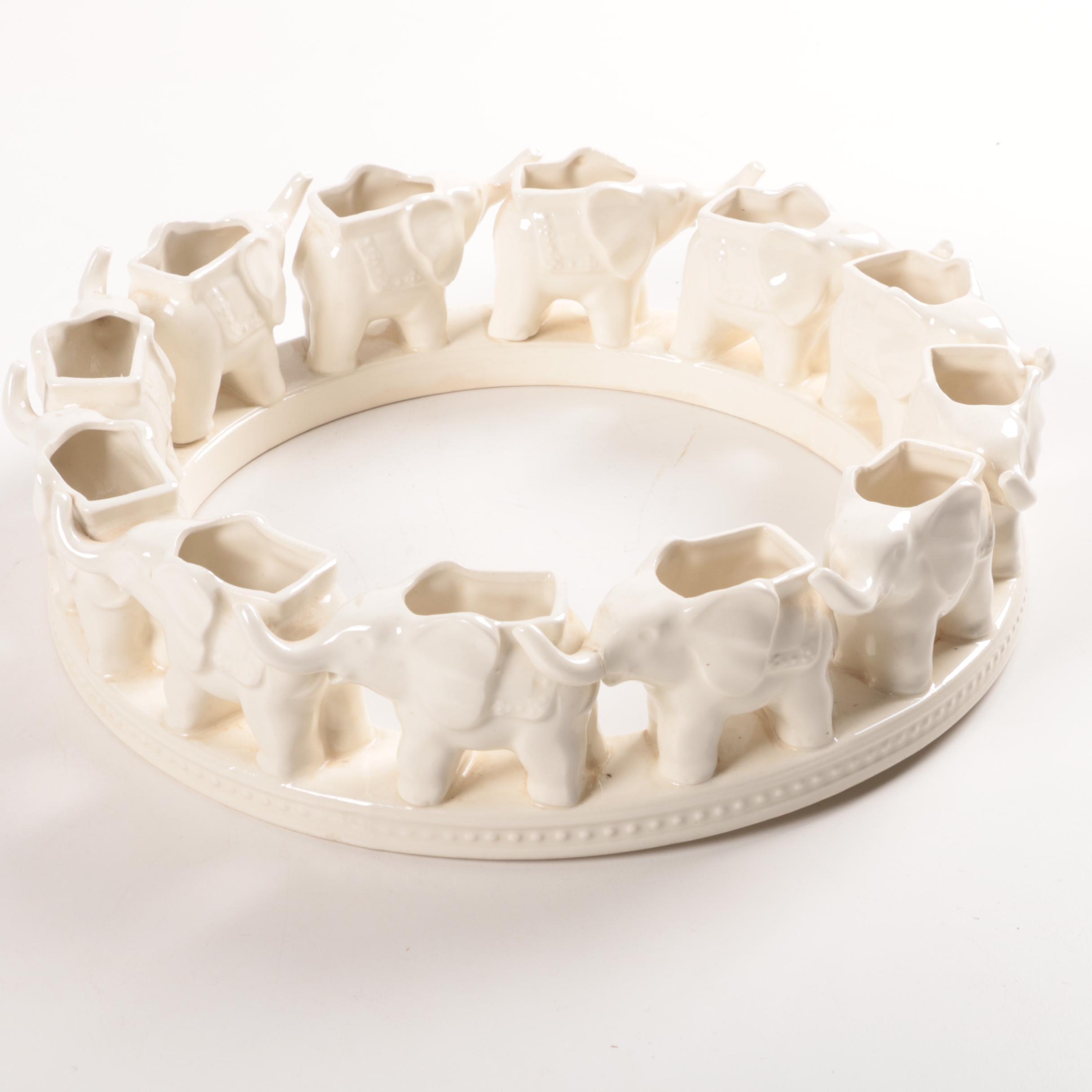 Ceramic Ring of Elephants Flower Frog