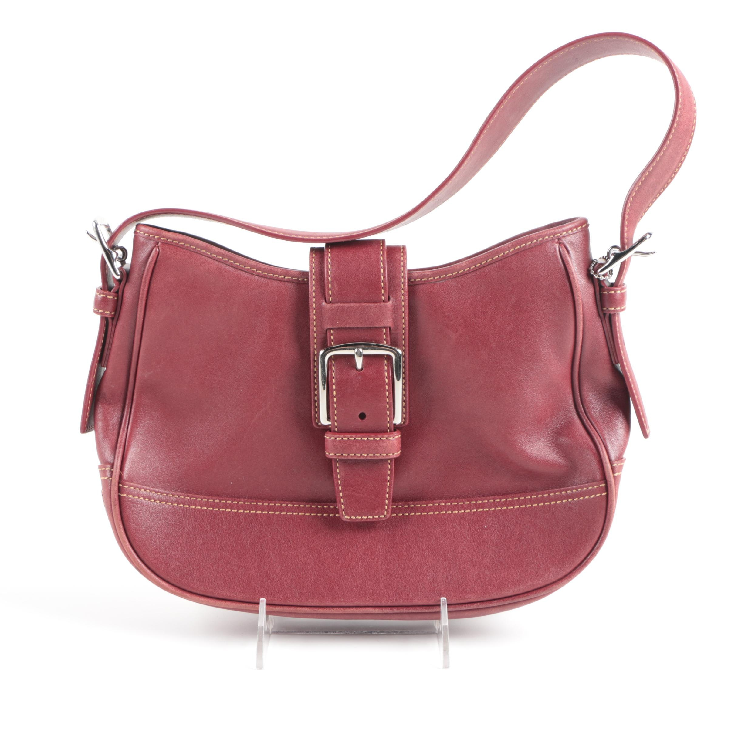 Coach Red Leather Hampton Hobo Handbag