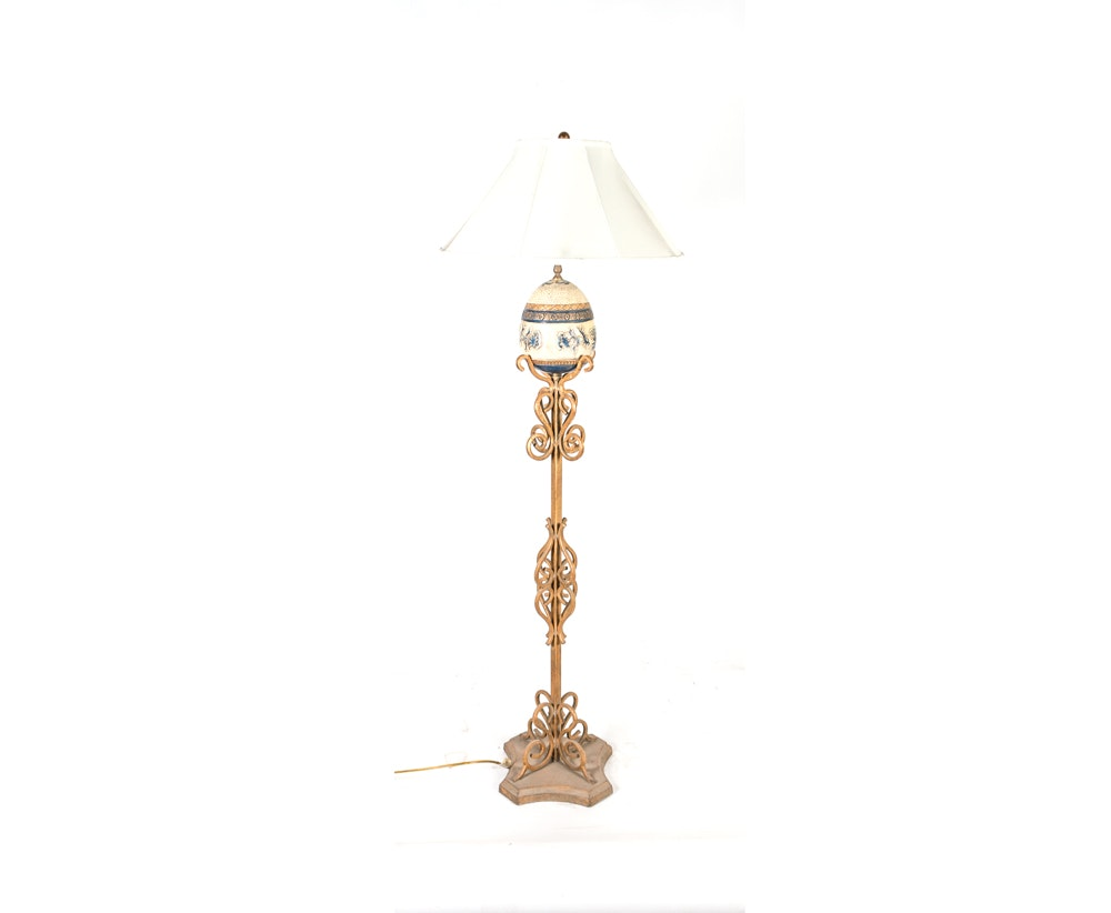 Gold Tone Scroll Motif Floor Lamp