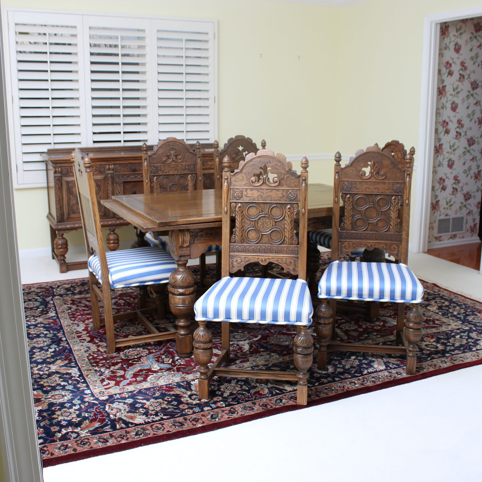 Vintage Tudor Revival Oak Dining Table And Ten Chairs