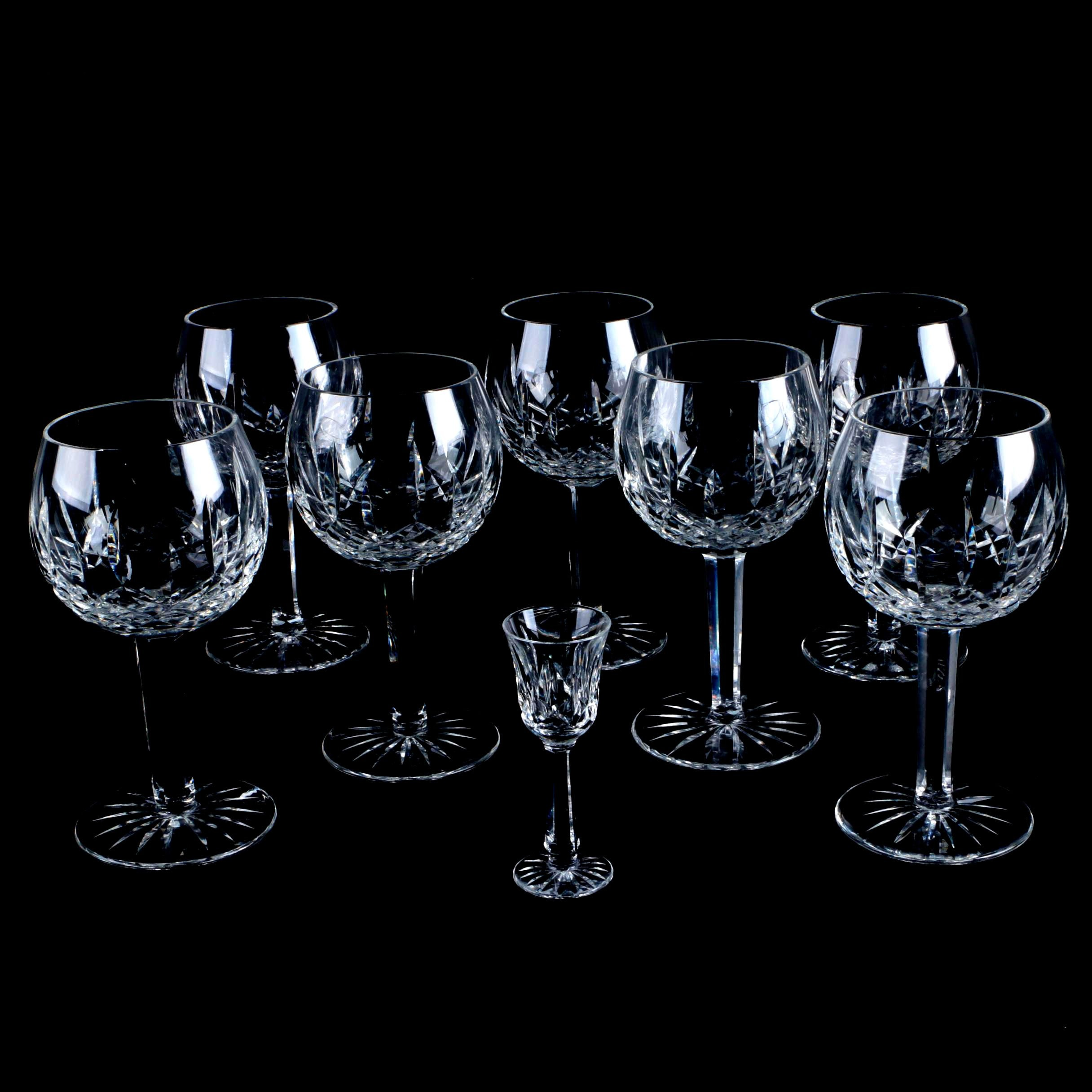 "Waterford Crystal ""Lismore"" Oversize Wine Glasses and ""Ballyshannon"" Glass"