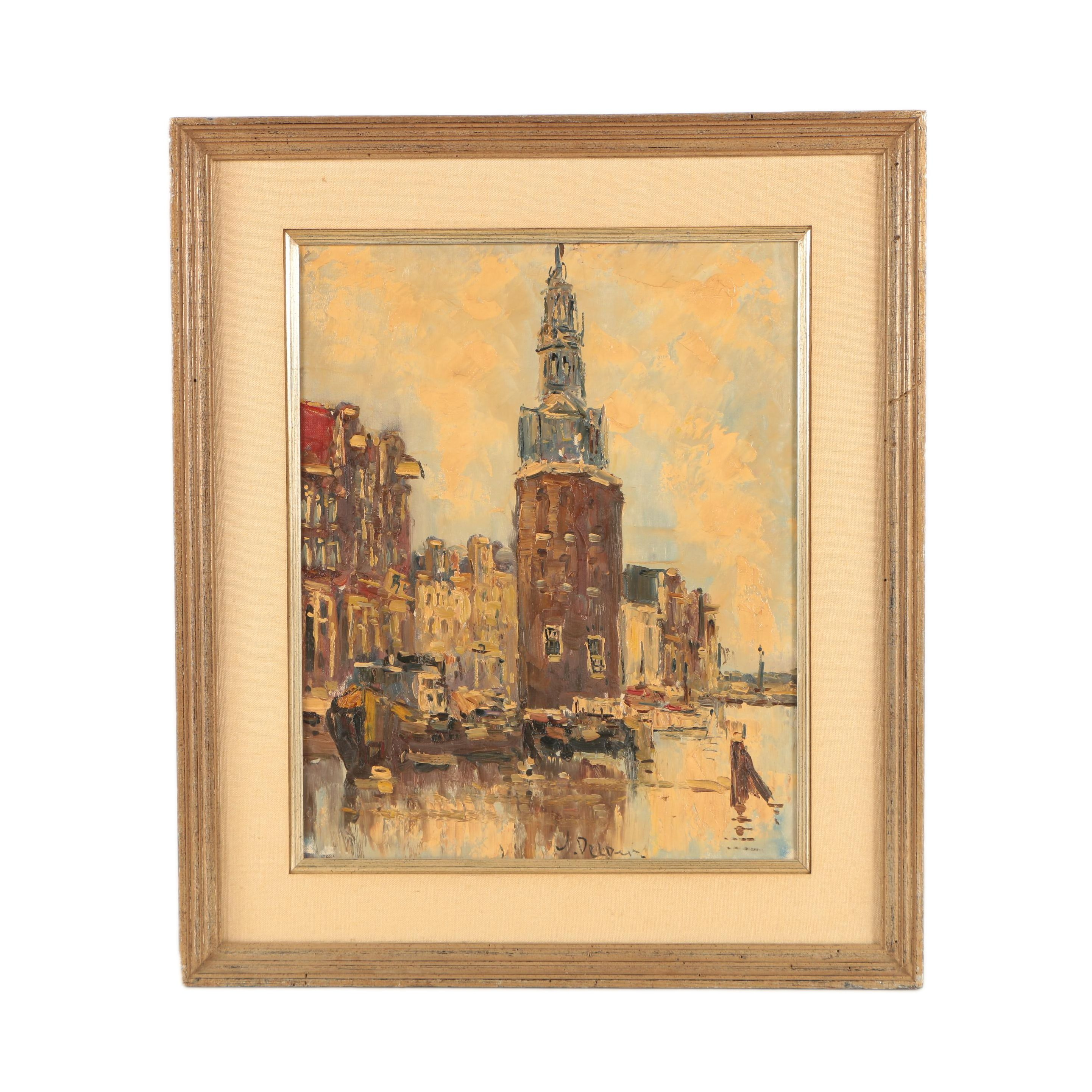 Oil Painting on Canvas of City Port