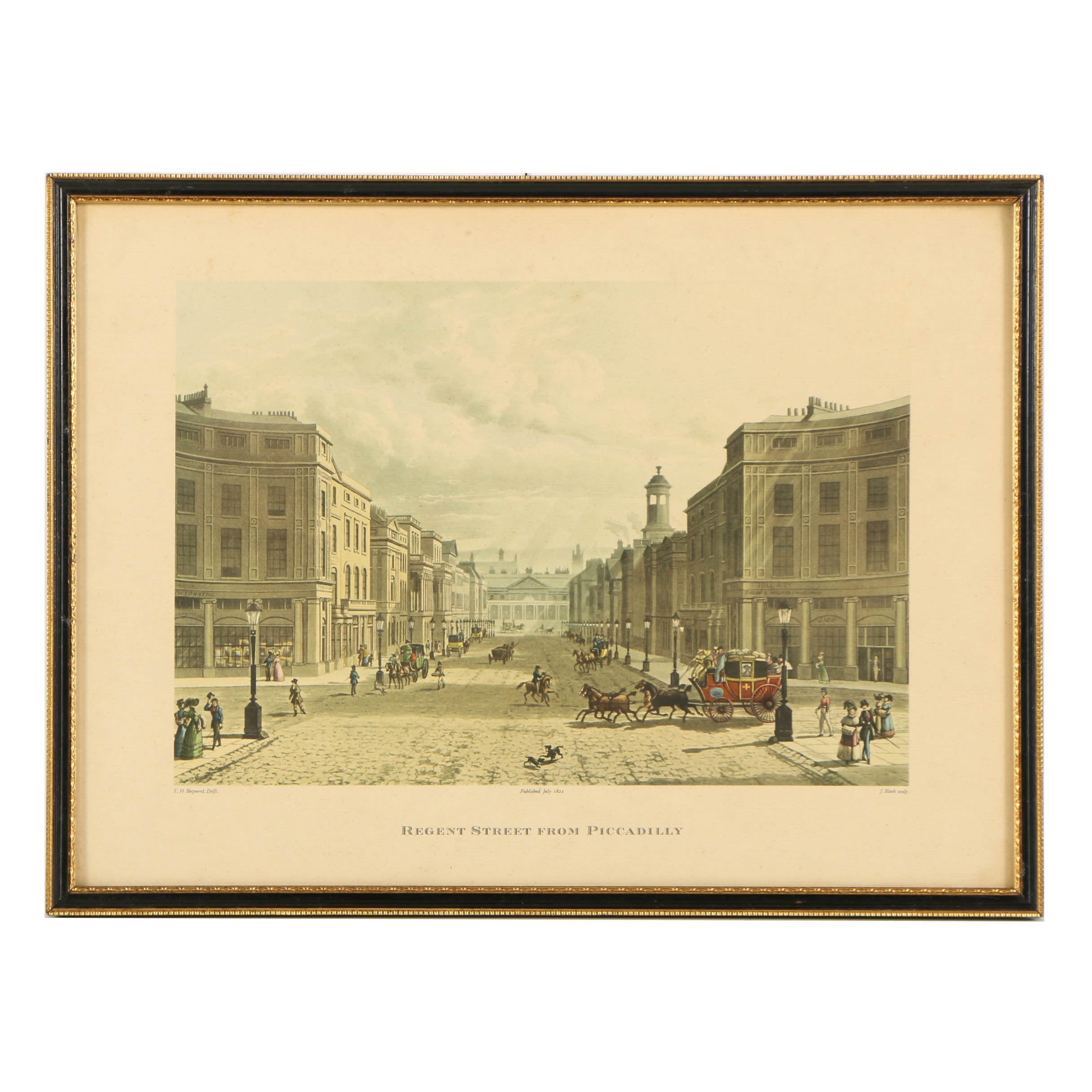 "Mezzograph Print on Paper After J. Bluck ""Regent St. From Picadilly"""