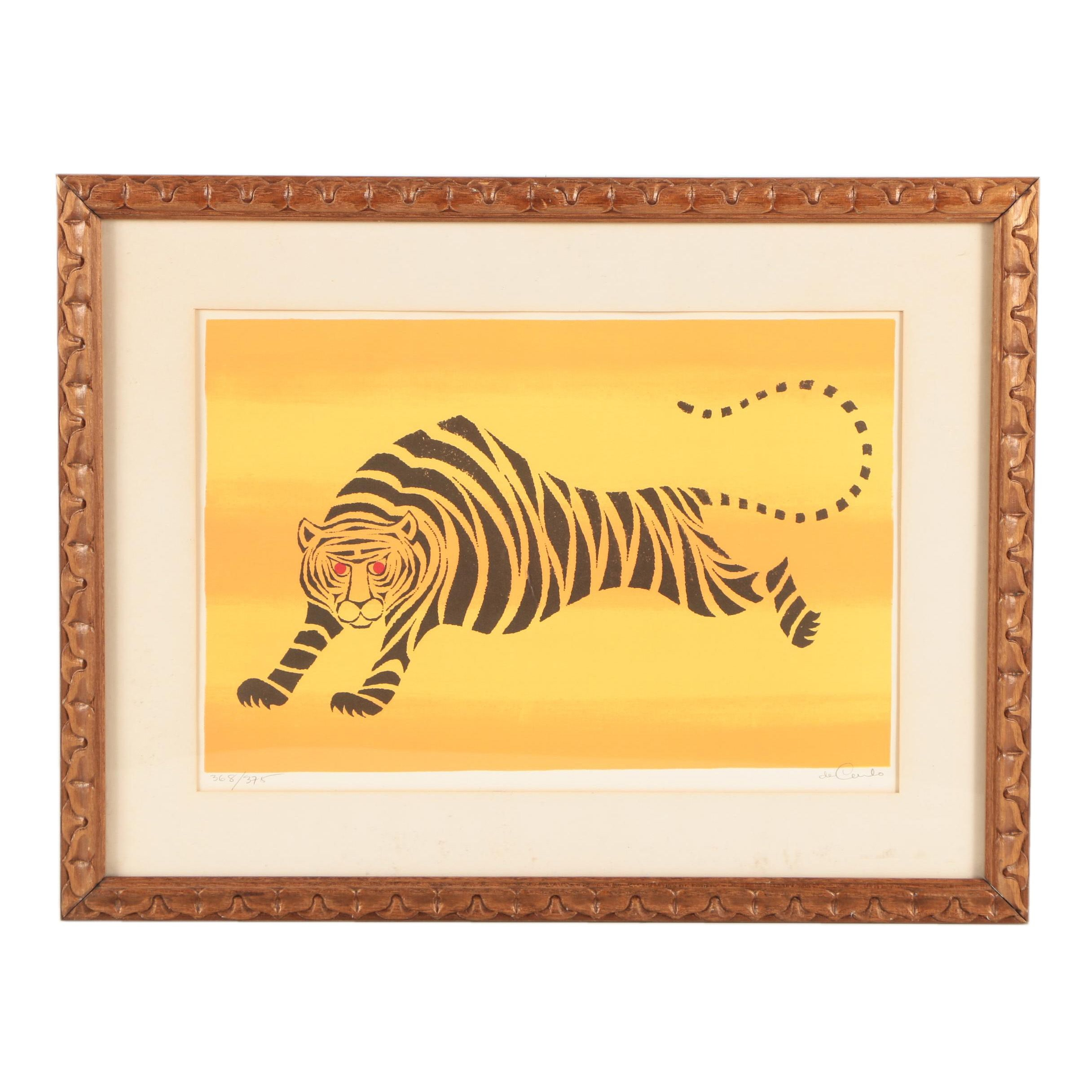 Keith Llewellyn DeCarlo Limited Edition Lithograph of a Tiger