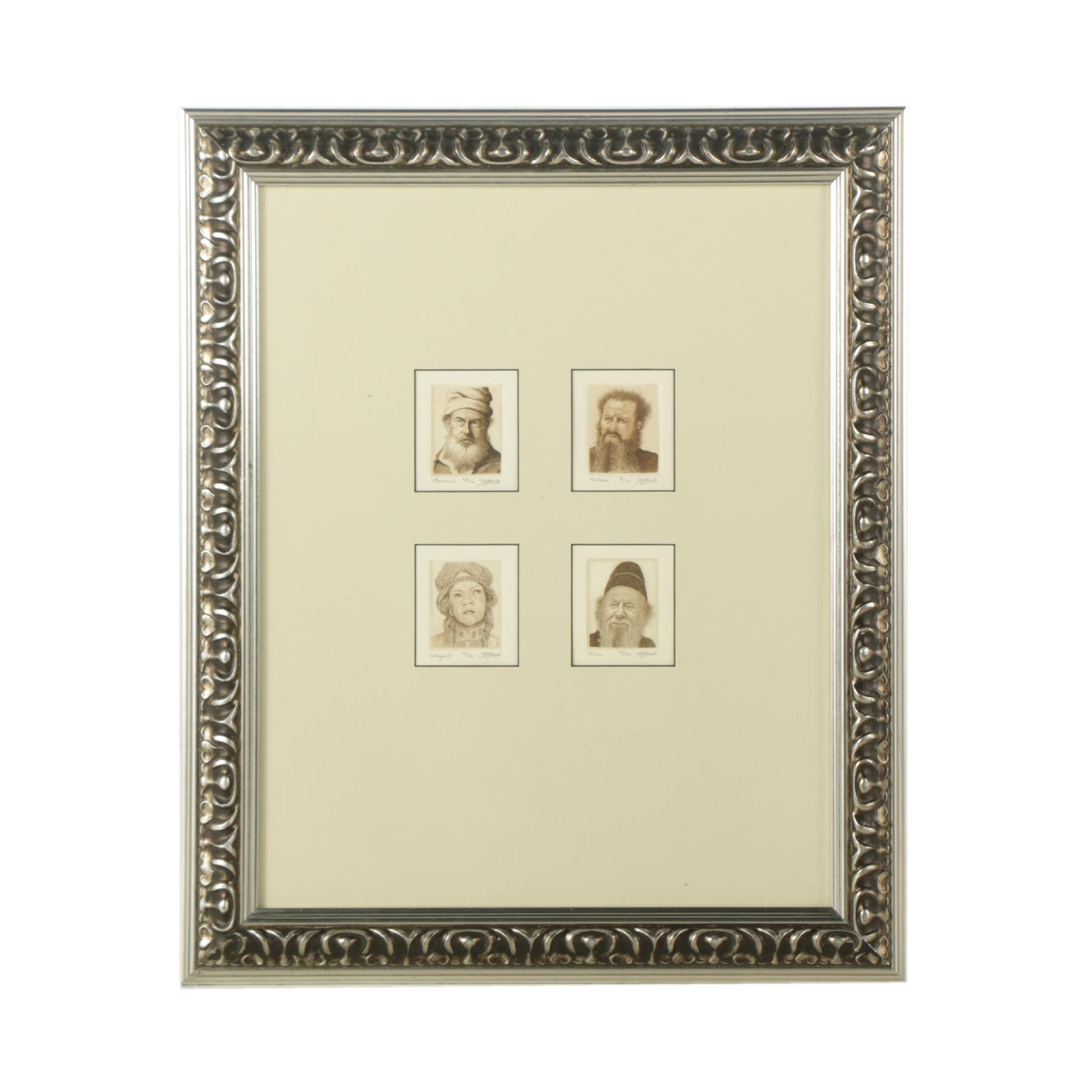 Series of Four Limited Edition Etched Portraits in a Singular Frame