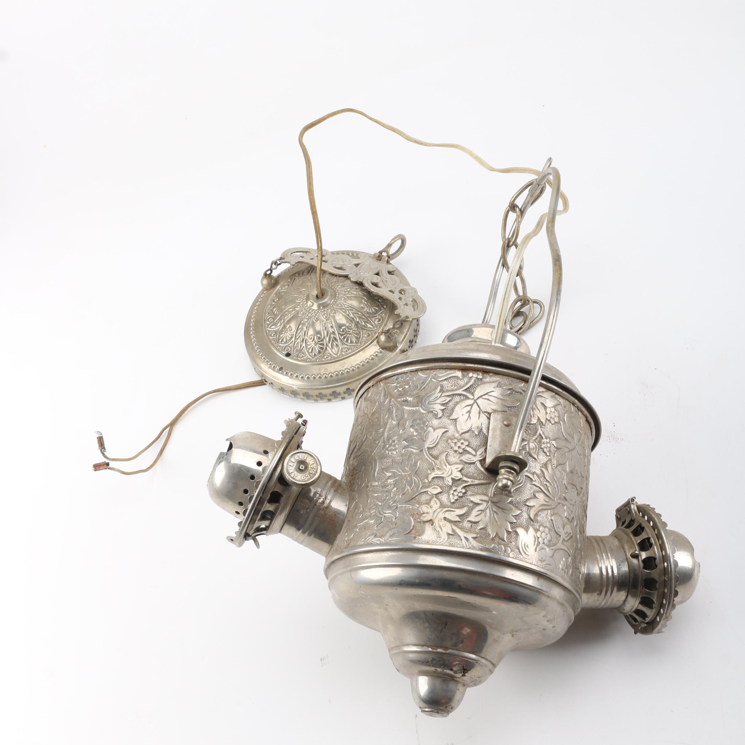 Converted Antique Two Burner Hanging Oil Lamp