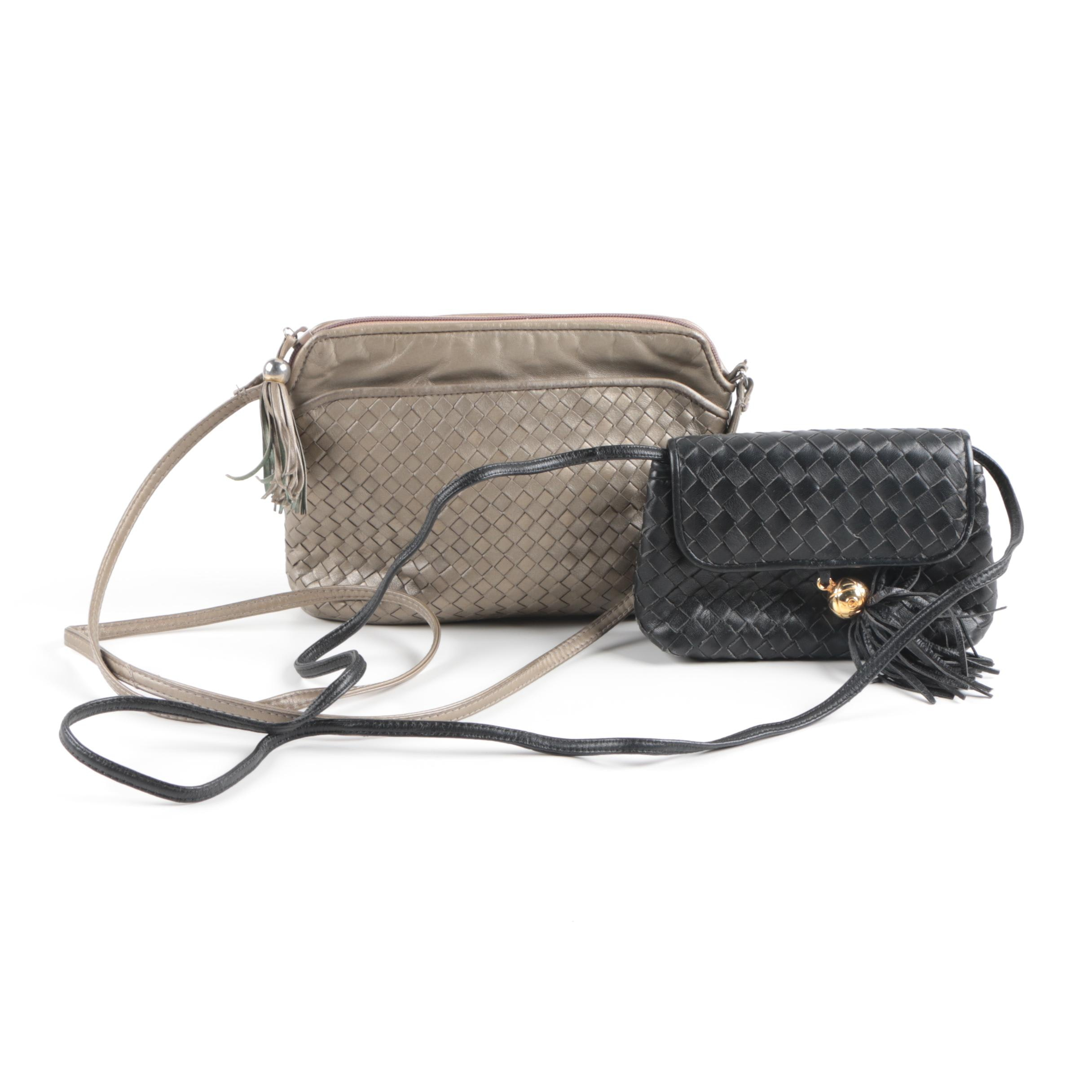 Vintage Woven Leather Handbags with Tassels Including Ganson