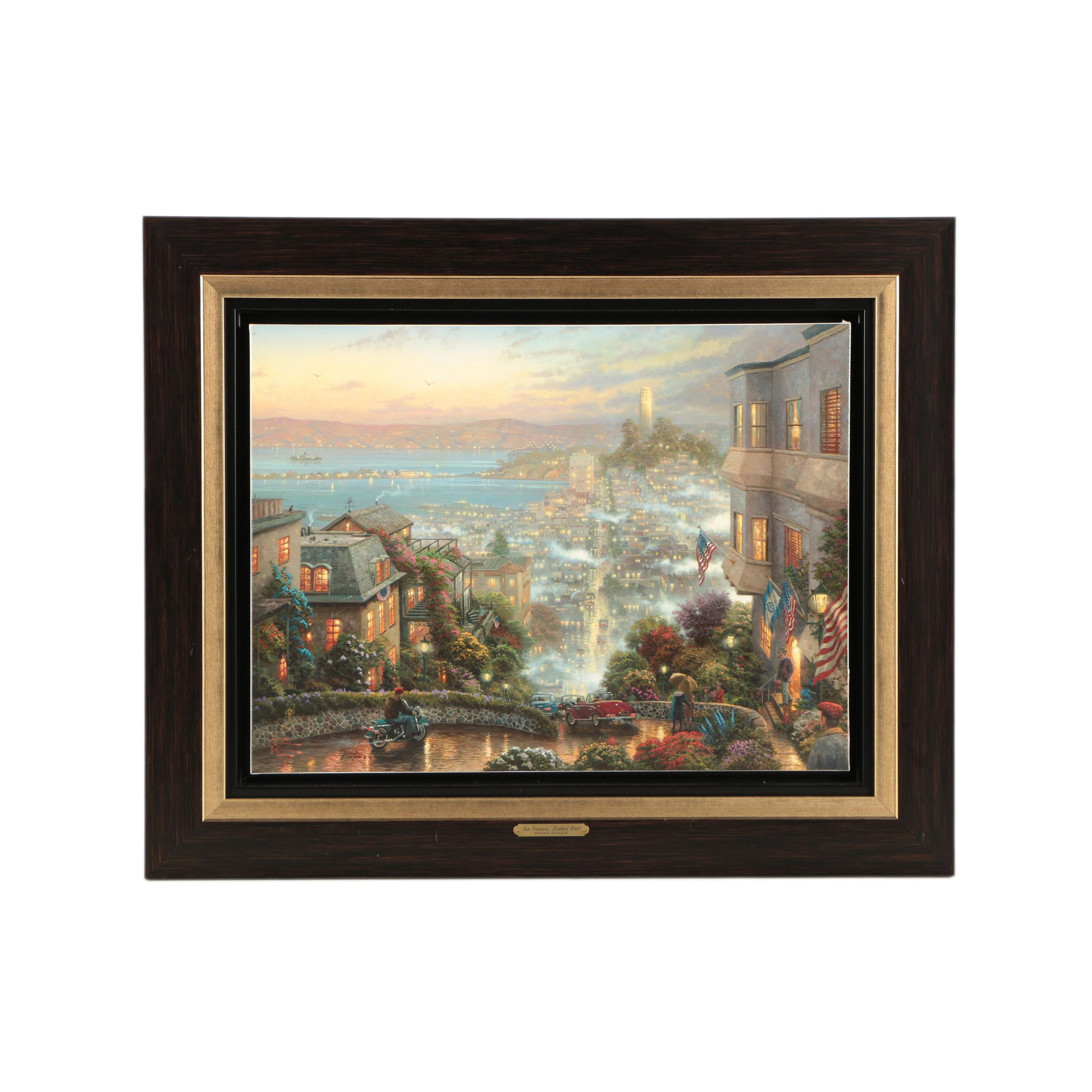 "Offset Lithograph on Canvas After Thomas Kinkade ""San Francisco, Lombard Street"""