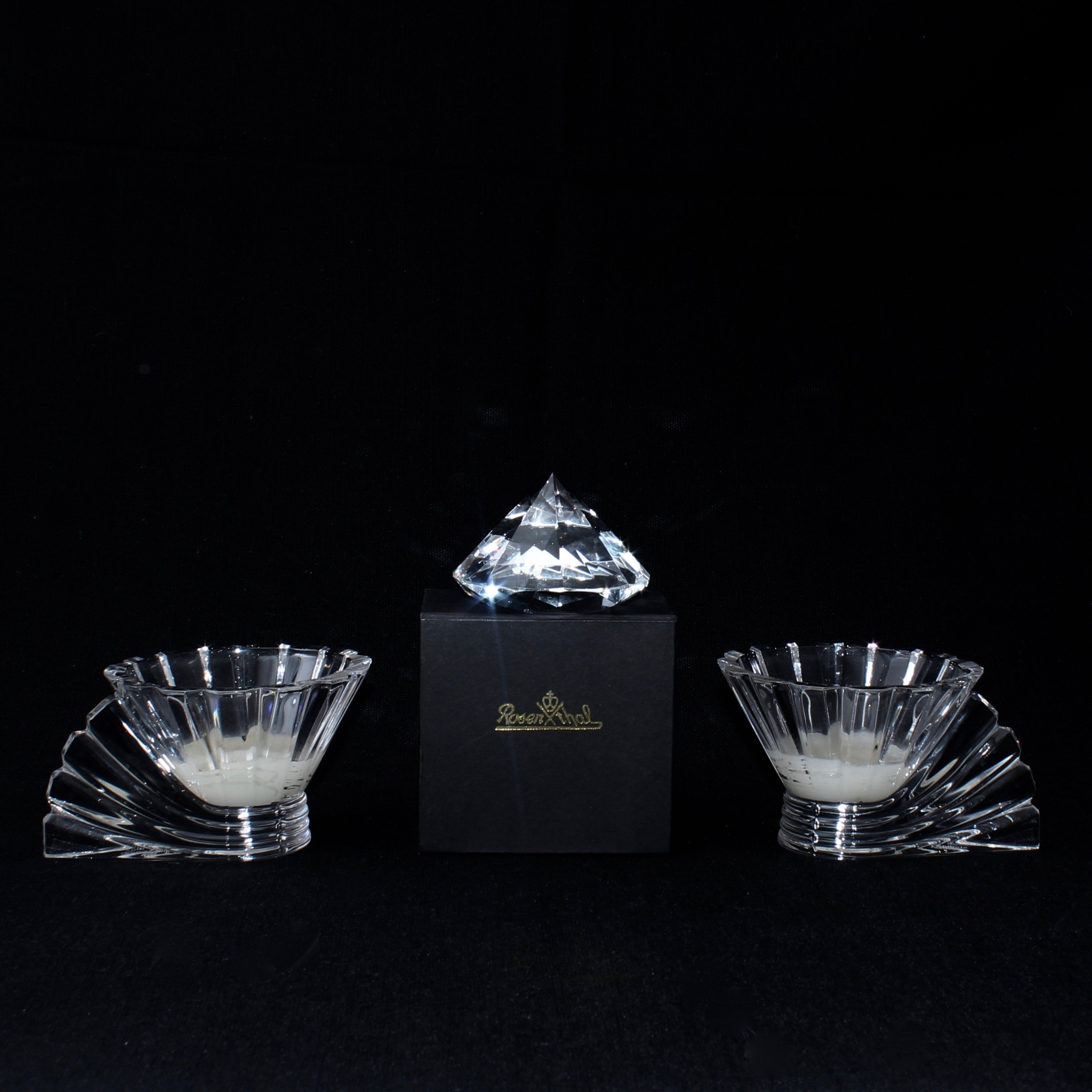 Rosenthal Crystal Paperweight and Votives