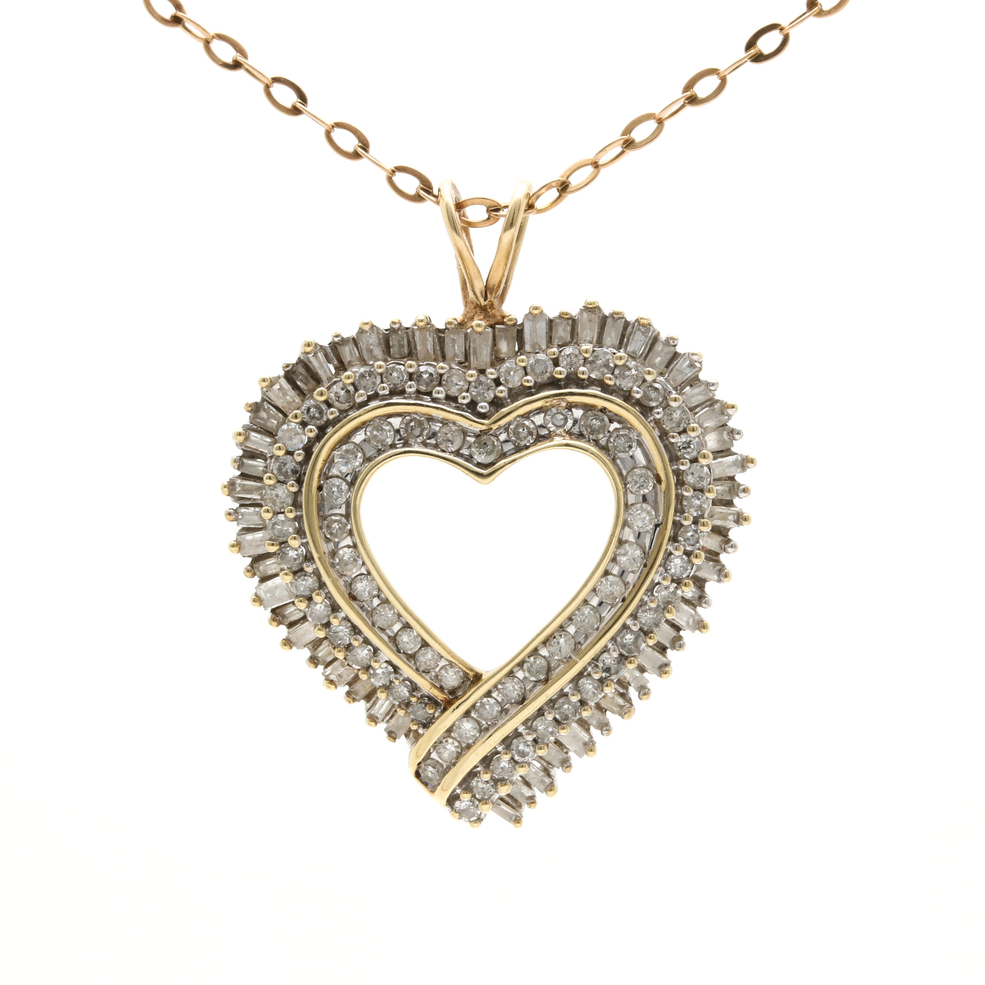10K White and Yellow Gold 1.42 CTW Diamond Heart Necklace