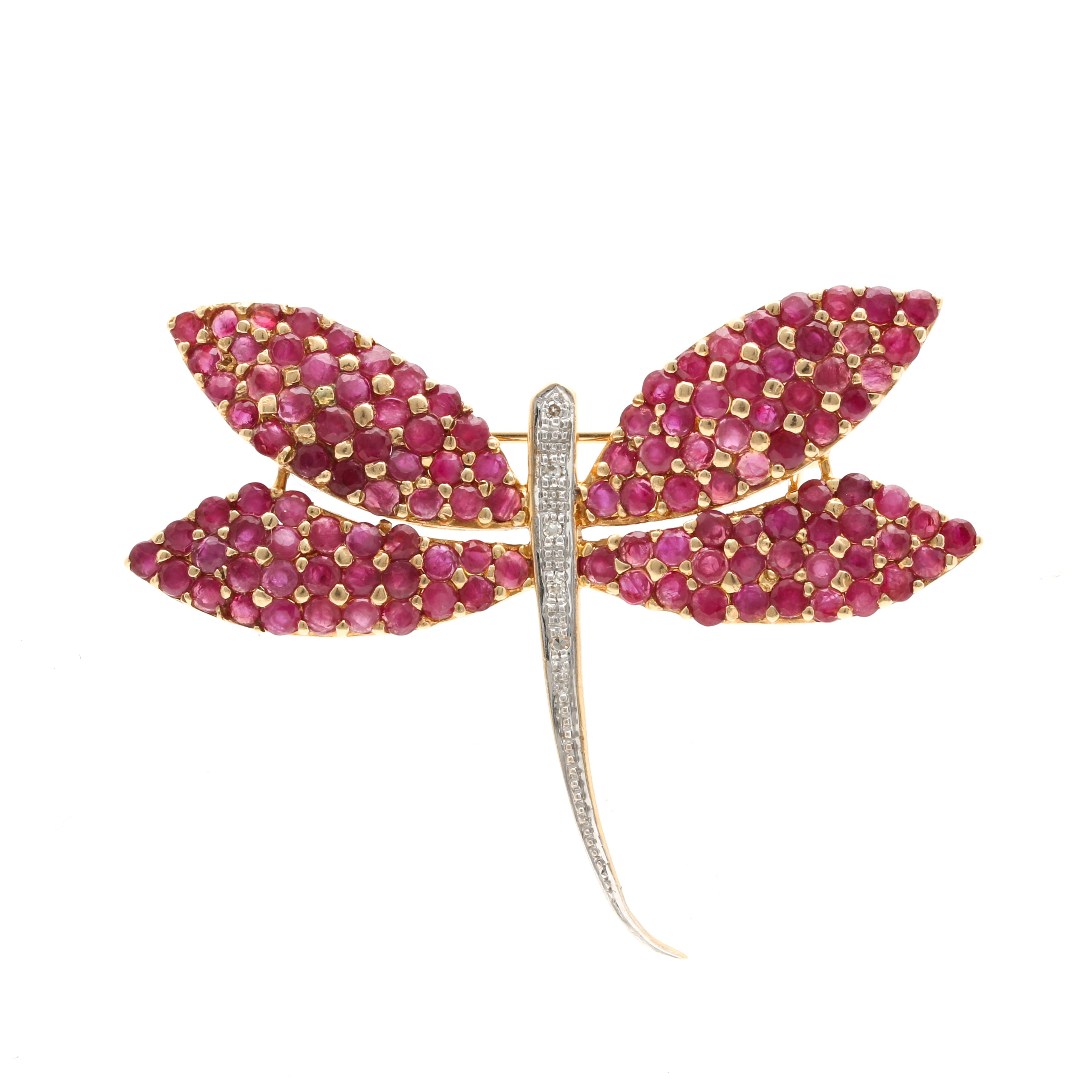 14K Yellow Gold Diamond and Ruby Dragonfly Brooch