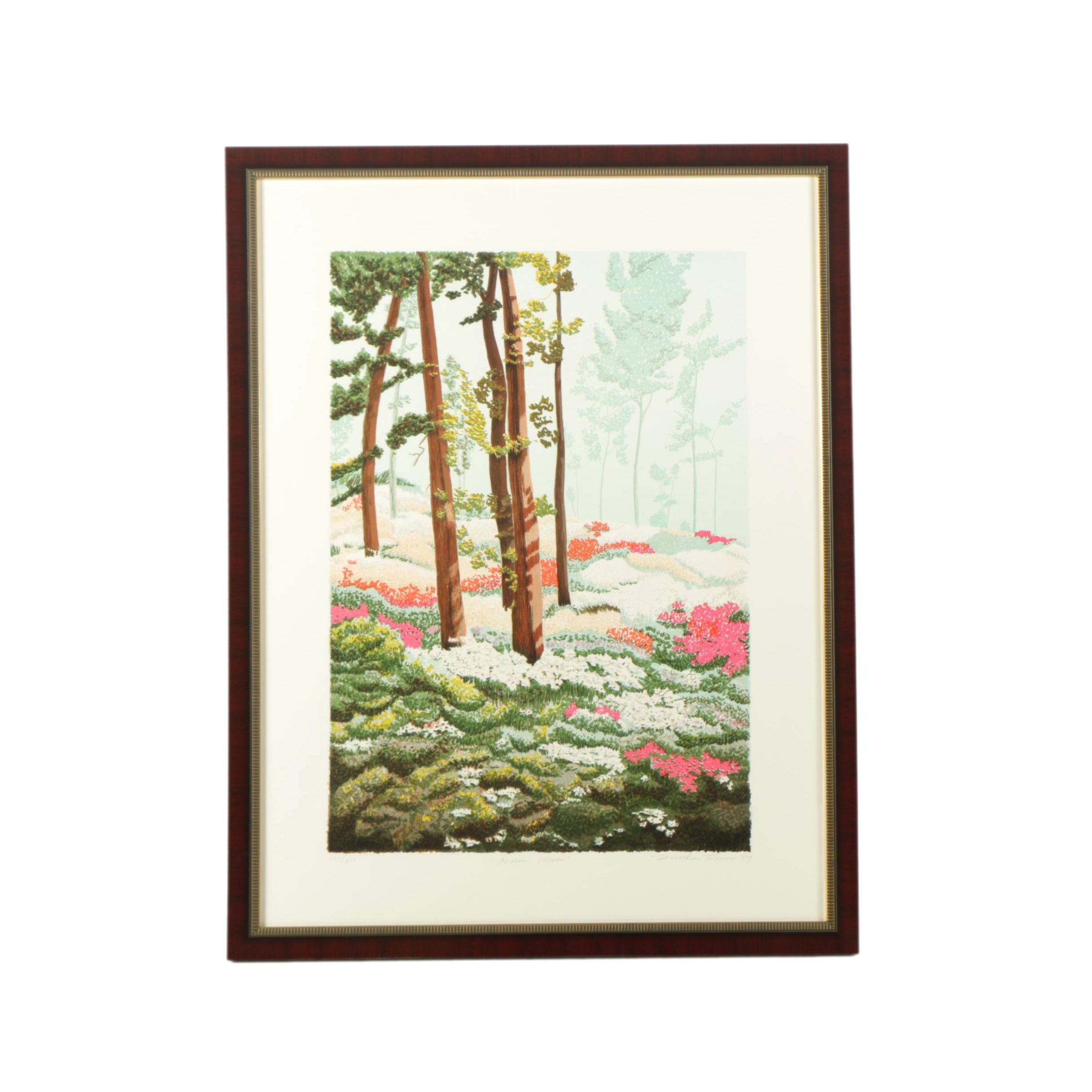 "Dorothea Travers Limited Edition Serigraph on Paper ""Azalea Woods"""