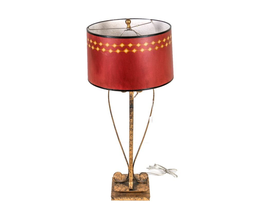 Blackened Gold Scroll Table Lamp