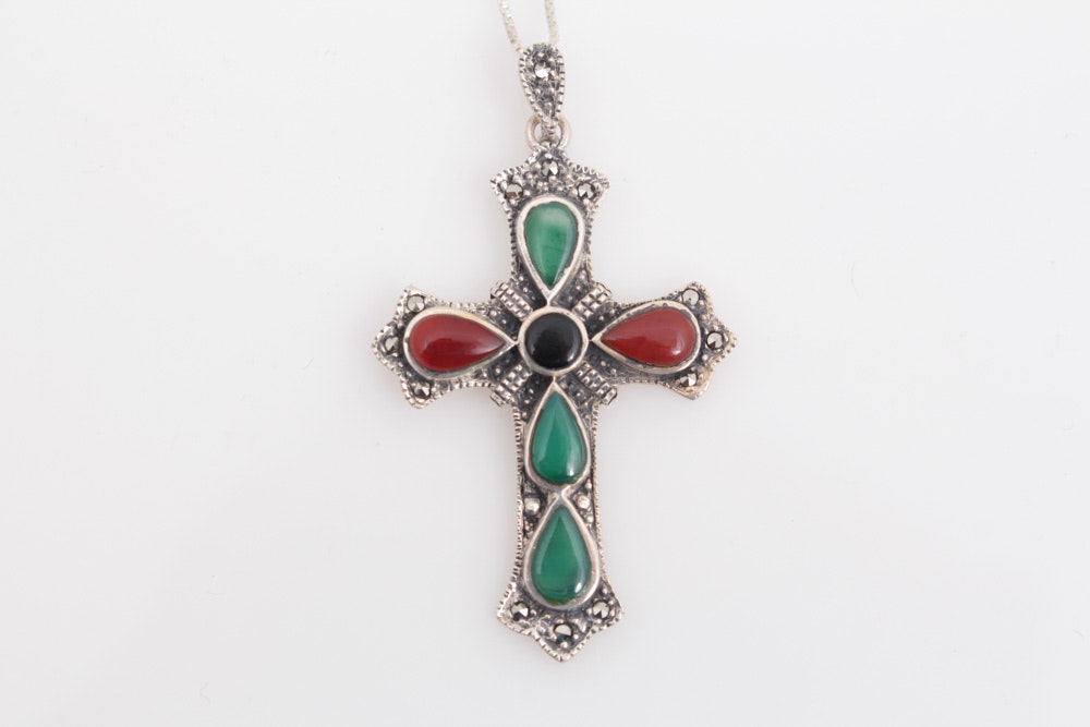 Sterling Silver Necklace with Carnelian, Quartz and Onyx Cross Pendant