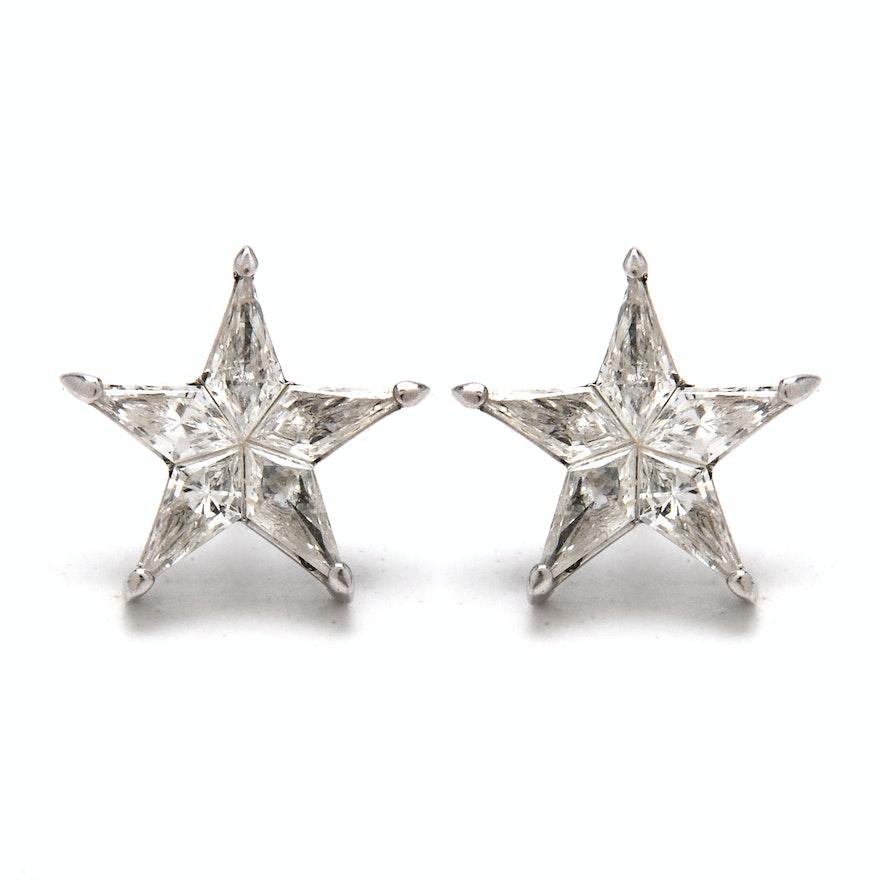 Pair Of 18k White Gold And Diamond Star Stud Earrings