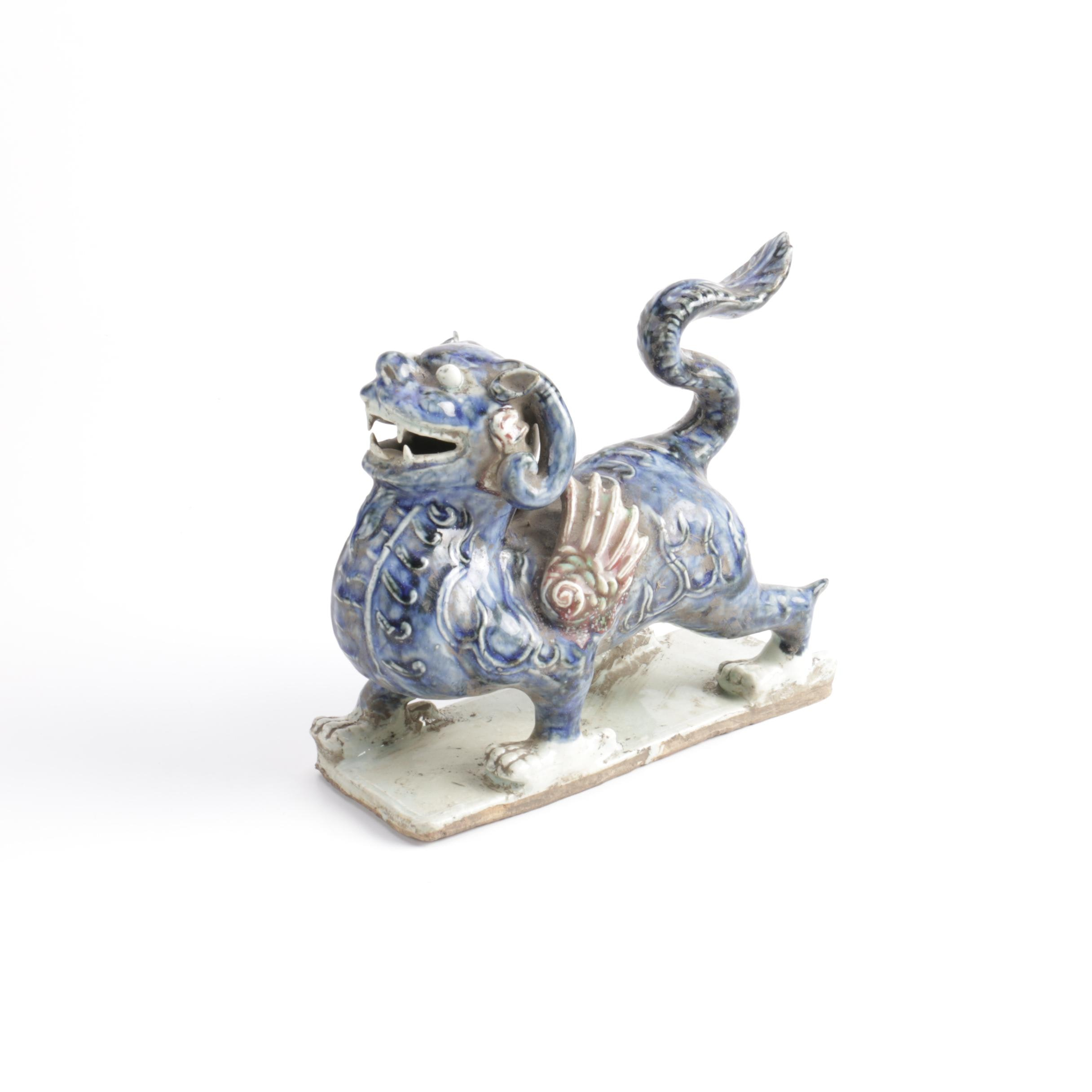 Chinese Hand-Painted Blue Winged Dragon Ceramic Figurine