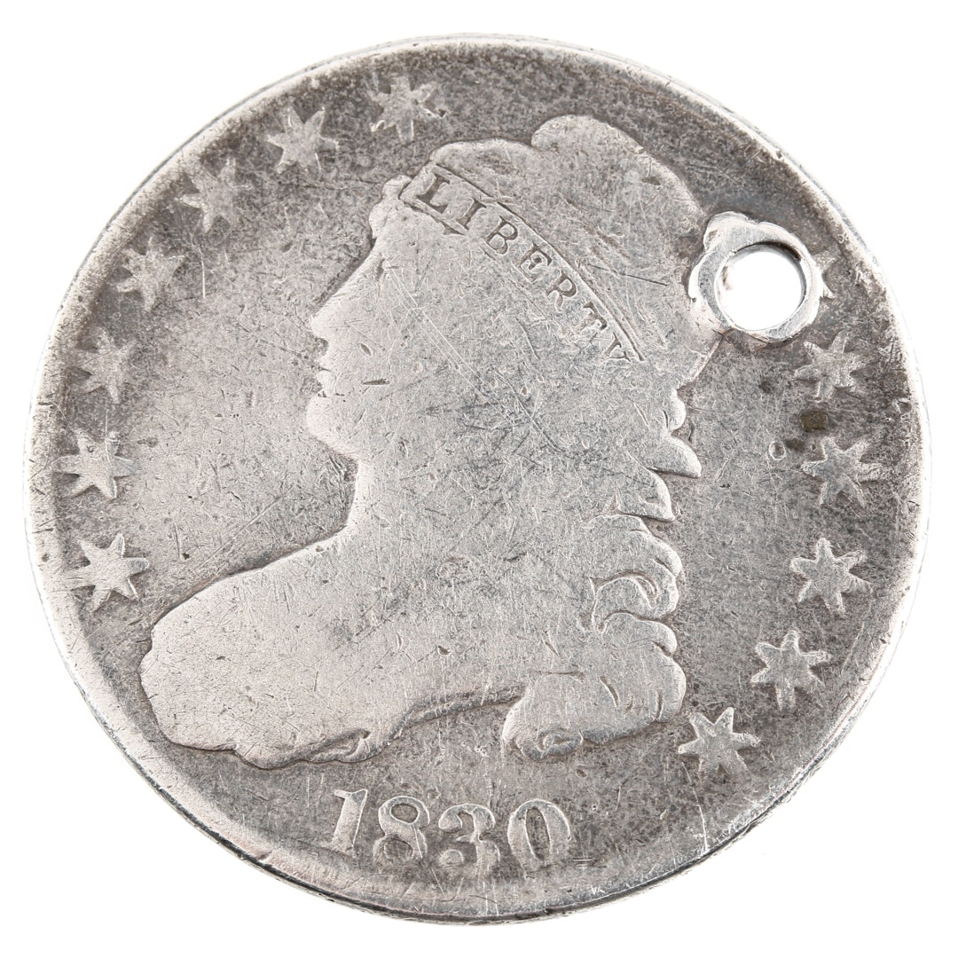 """1830 Capped Bust Silver Half Dollar, """"Large 0"""" Variety"""