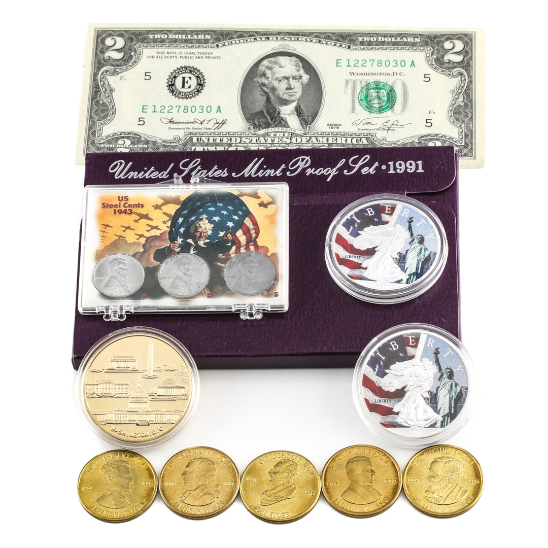 Assortment of U.S. Coins, Currency and Medals