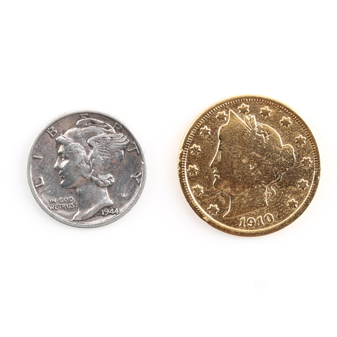 """Liberty Head """"V"""" Nickel and a Mercury Silver Dime"""