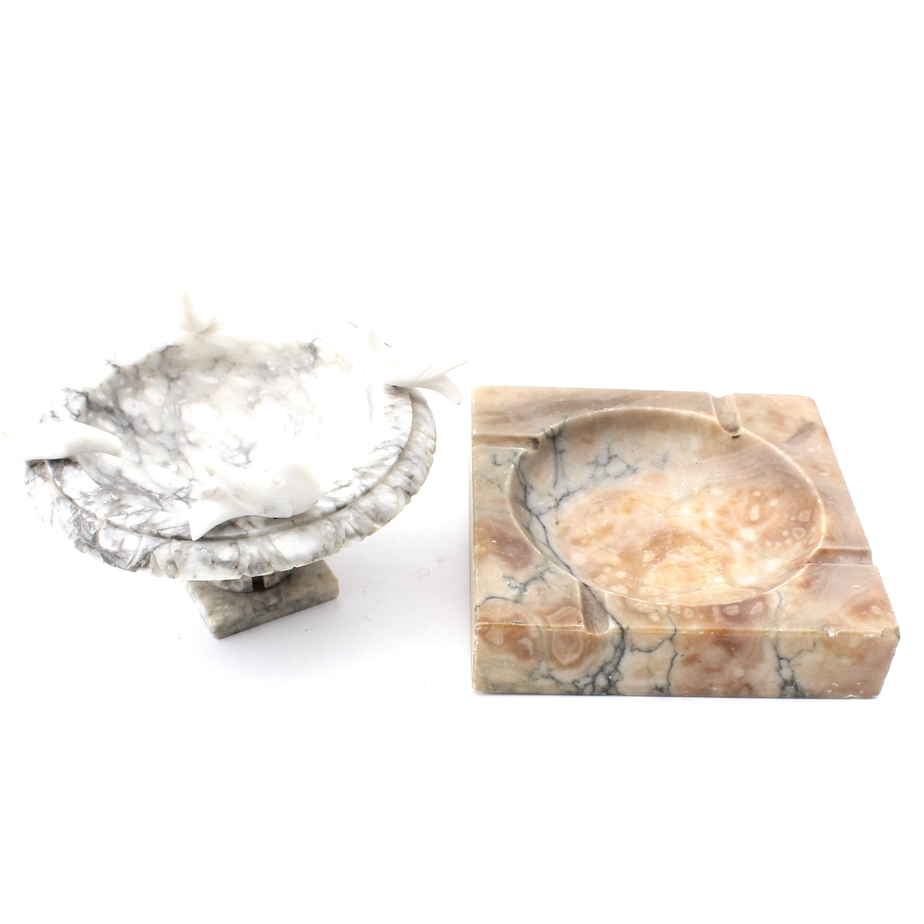 Marble Ashtray and Bird Bath Decor