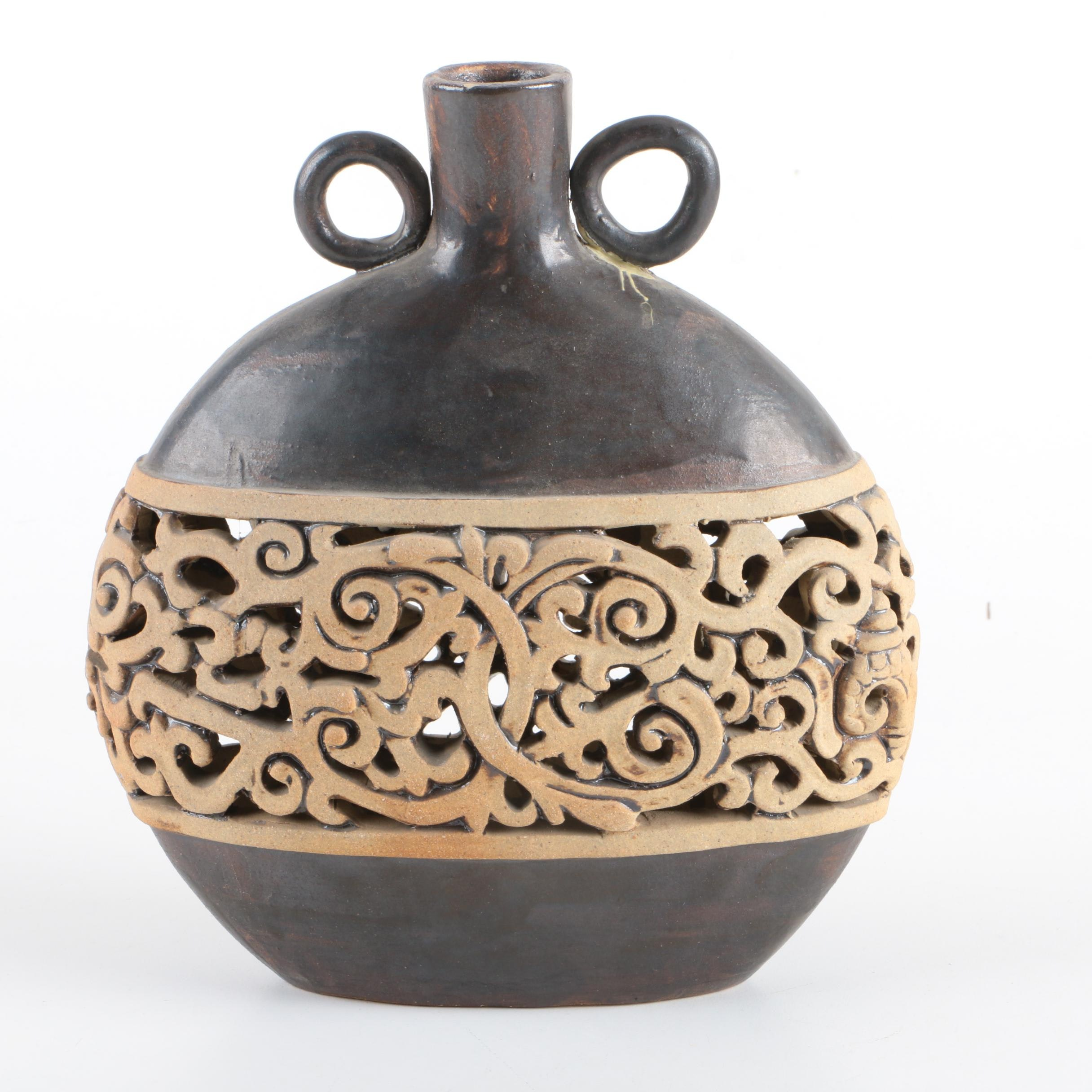Chinese Carved Ceramic Vase