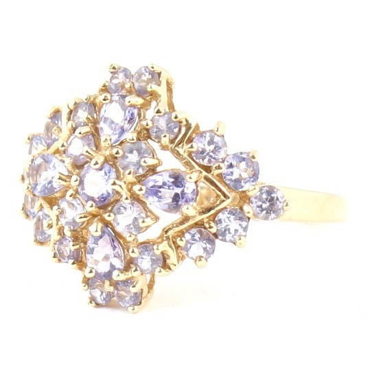 14K Yellow Gold Natural Tanzanite Ring