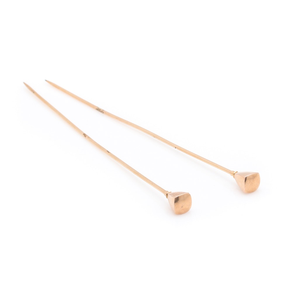 Pair of 14K Yellow Gold Hat Pins