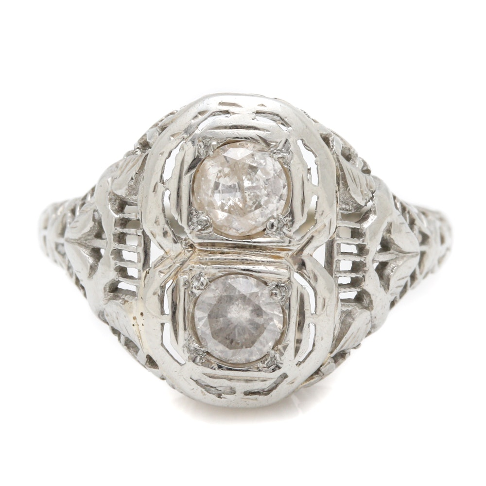 Late Edwardian 18K White Gold Diamond Filigree Ring