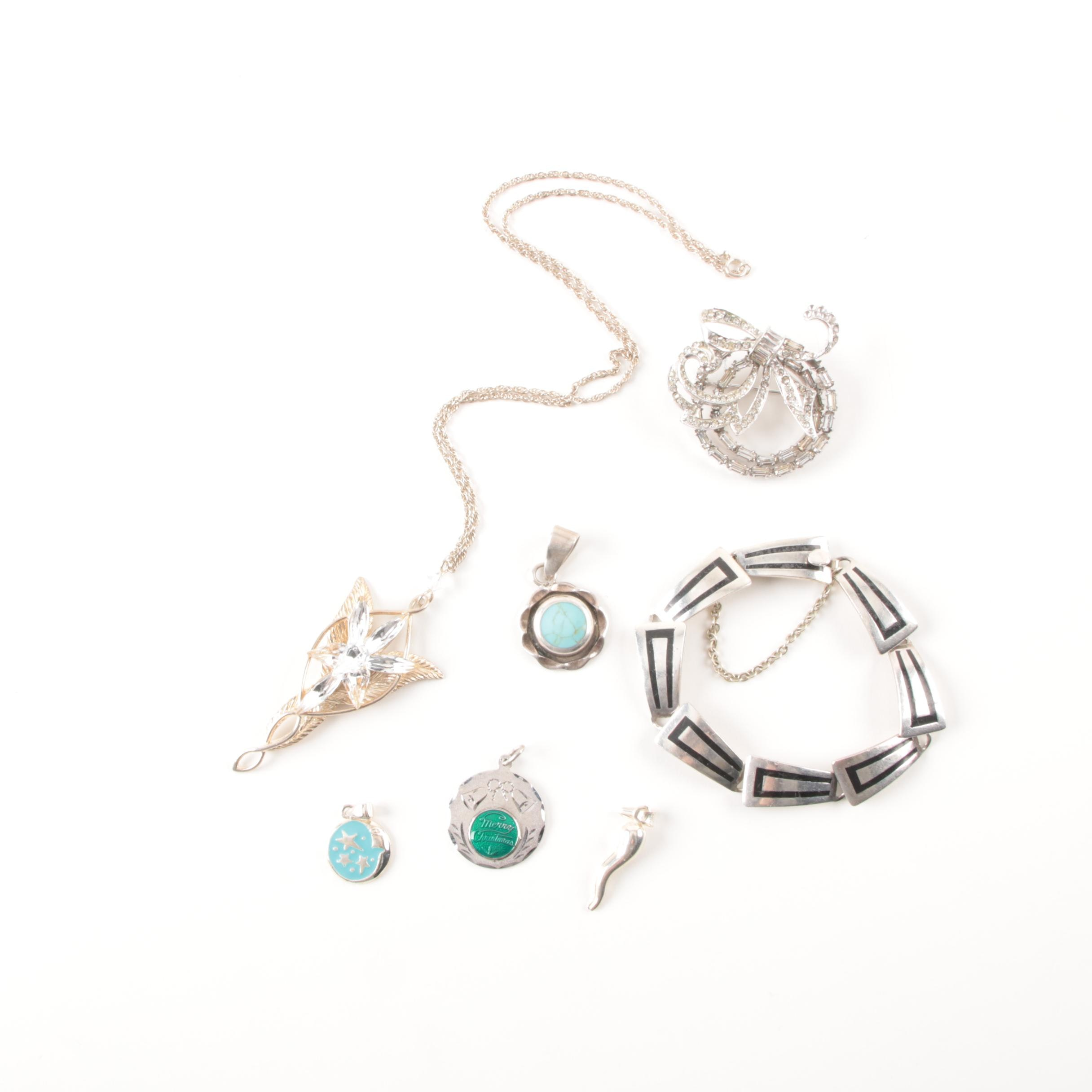 Collection of Sterling Silver Jewelry Featuring Pendants