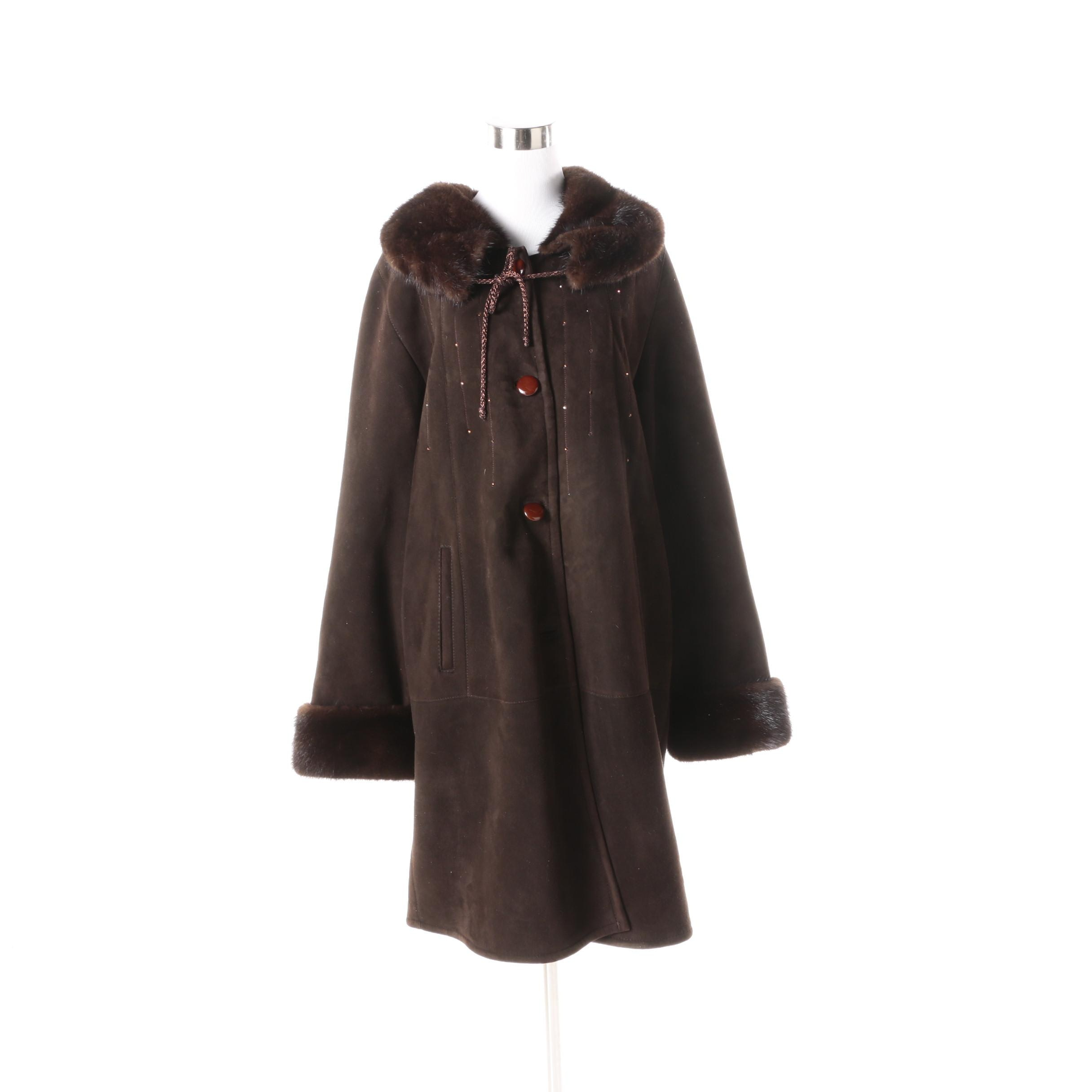 Shearling Coat with Mink Fur Collar