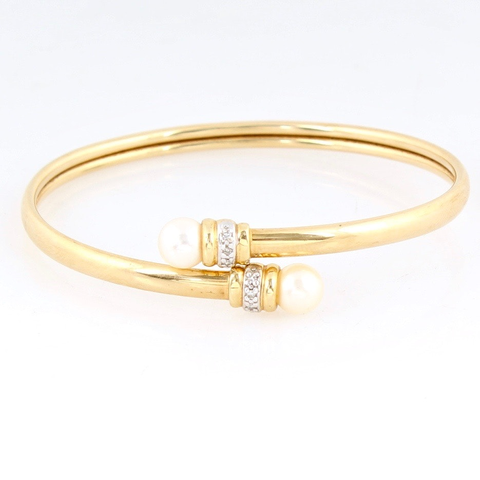 14K Yellow Gold Pearl and Diamond Cuff Bracelet