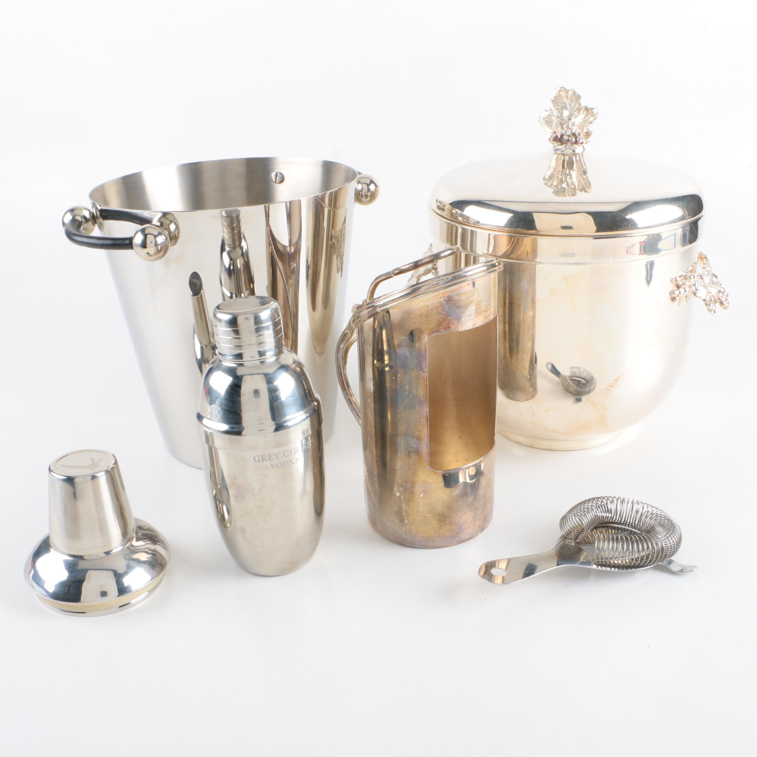 Gorham Silver Plate Ice Bucket with Other Stainless Steel Barware