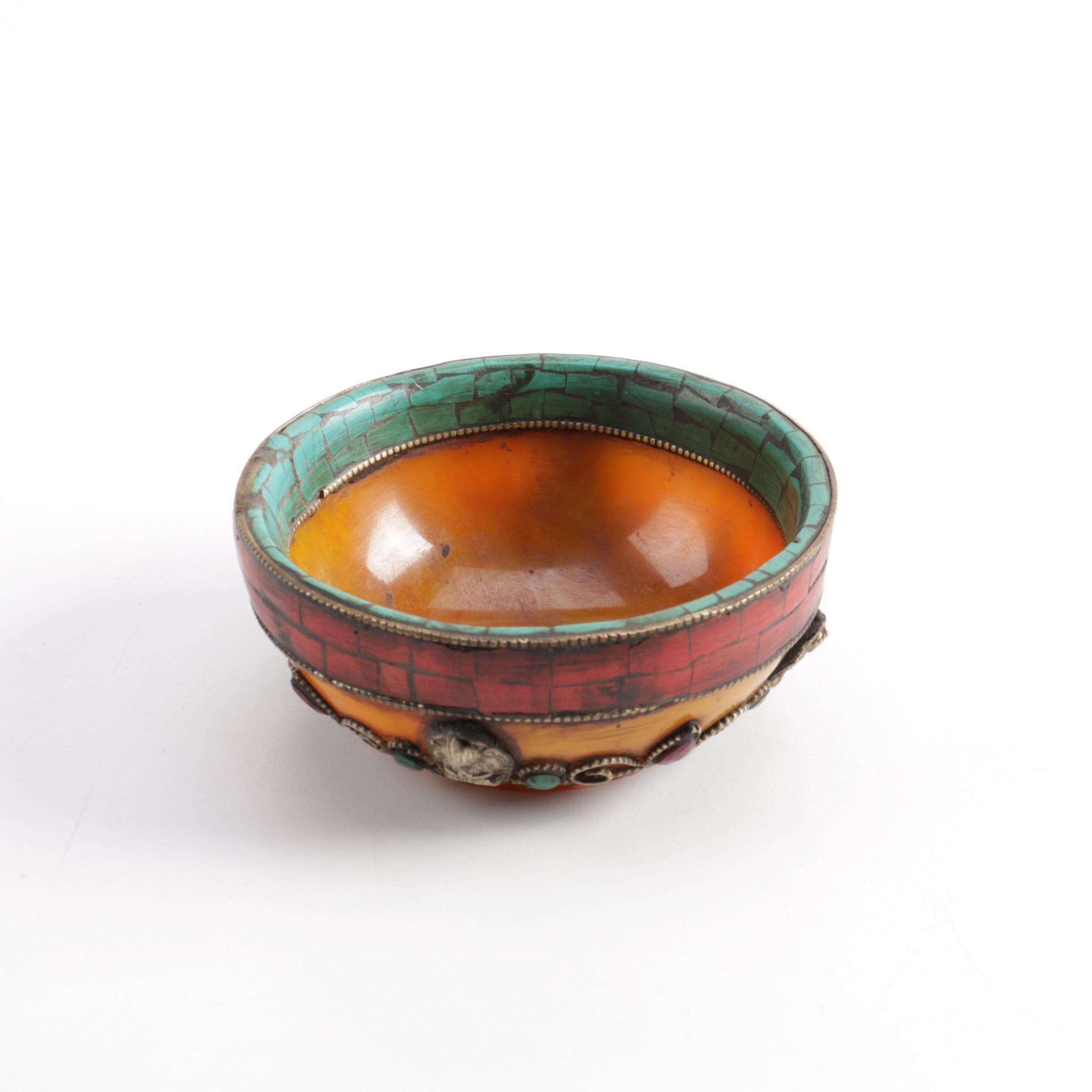 Tibetan Style Dyed Quartz, Howlite and Resin Mosaic Bowl