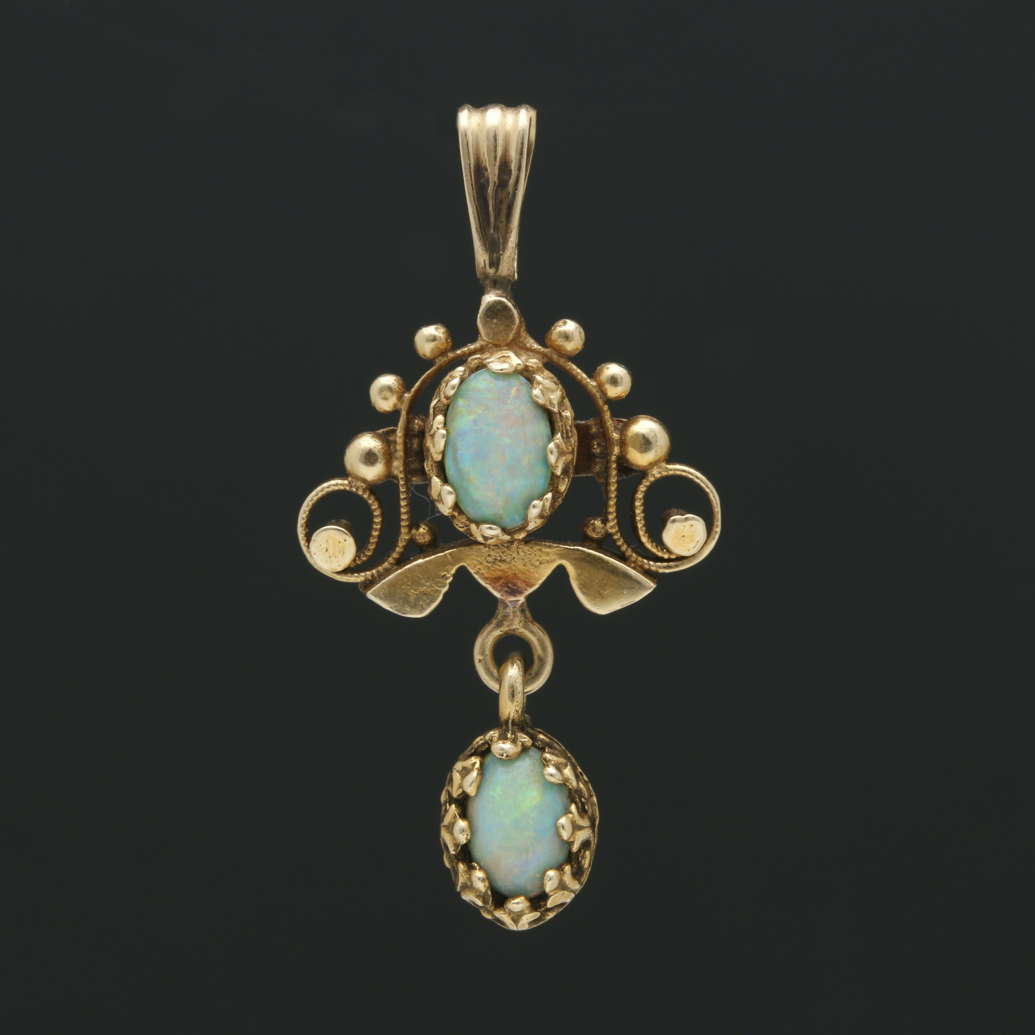 Victorian 14K Yellow Gold Opal Doublet Pendant