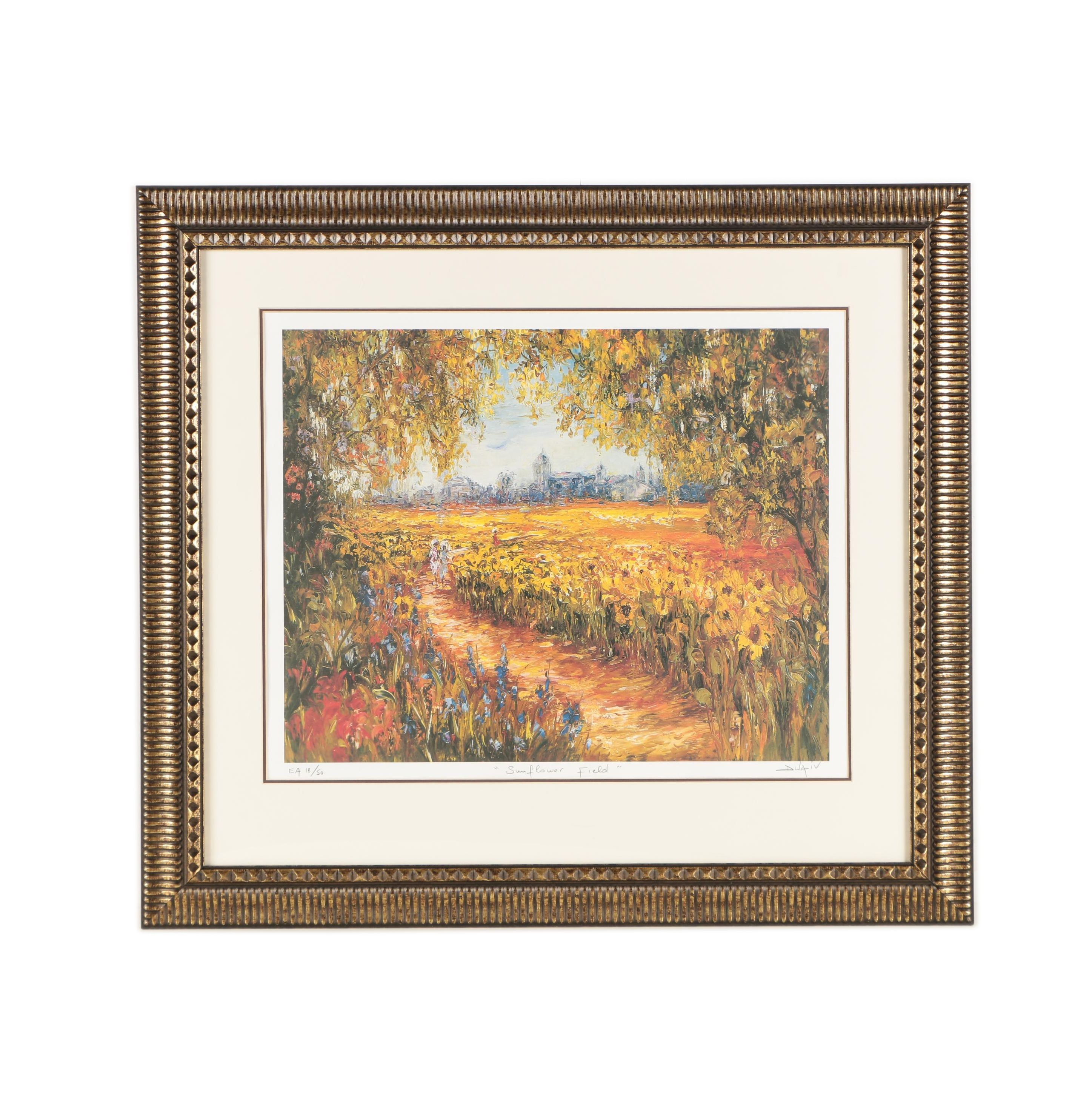 "Duaiv Limited Edition Offset Lithograph on Paper ""Sunflower Field"""