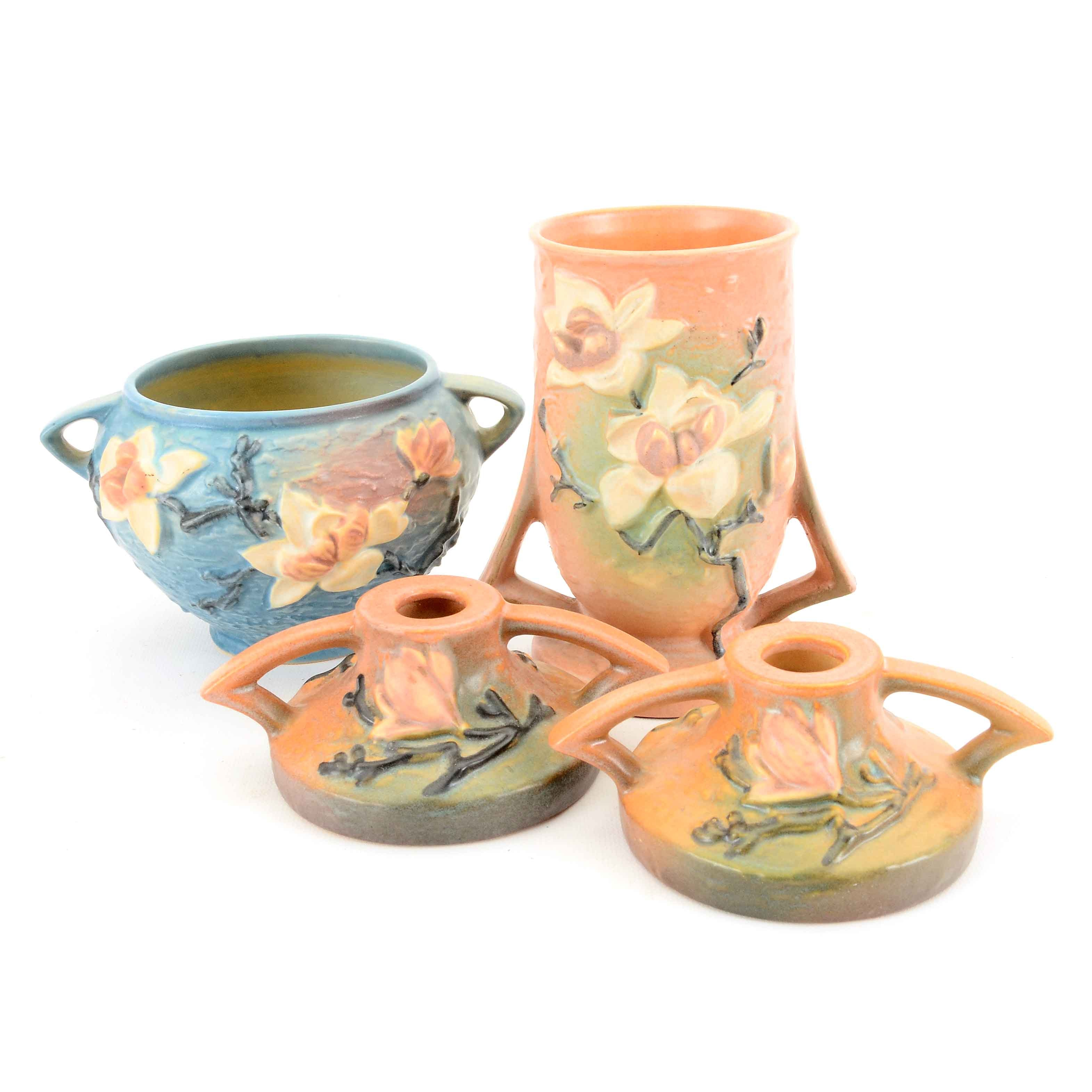 "Collection of Roseville Pottery ""Magnolia"" Decor"