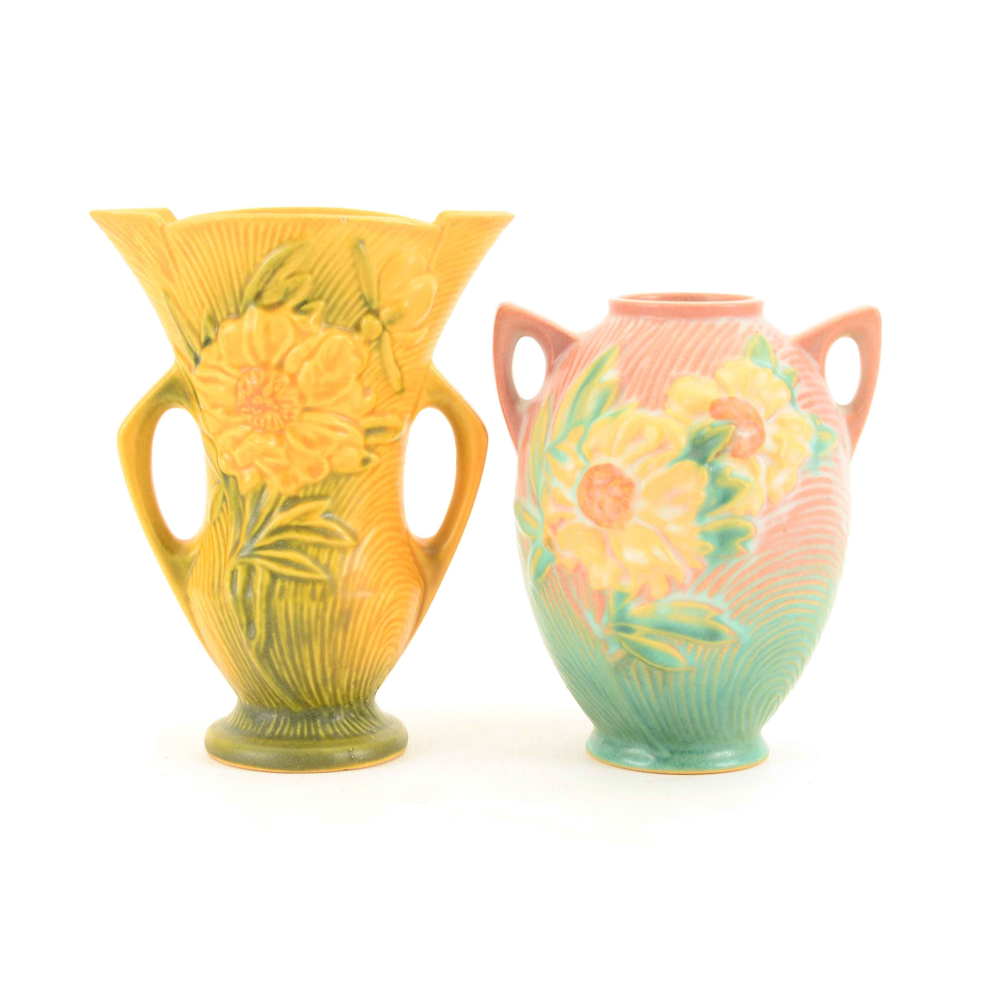 "Roseville Pottery ""Peony"" Vases"