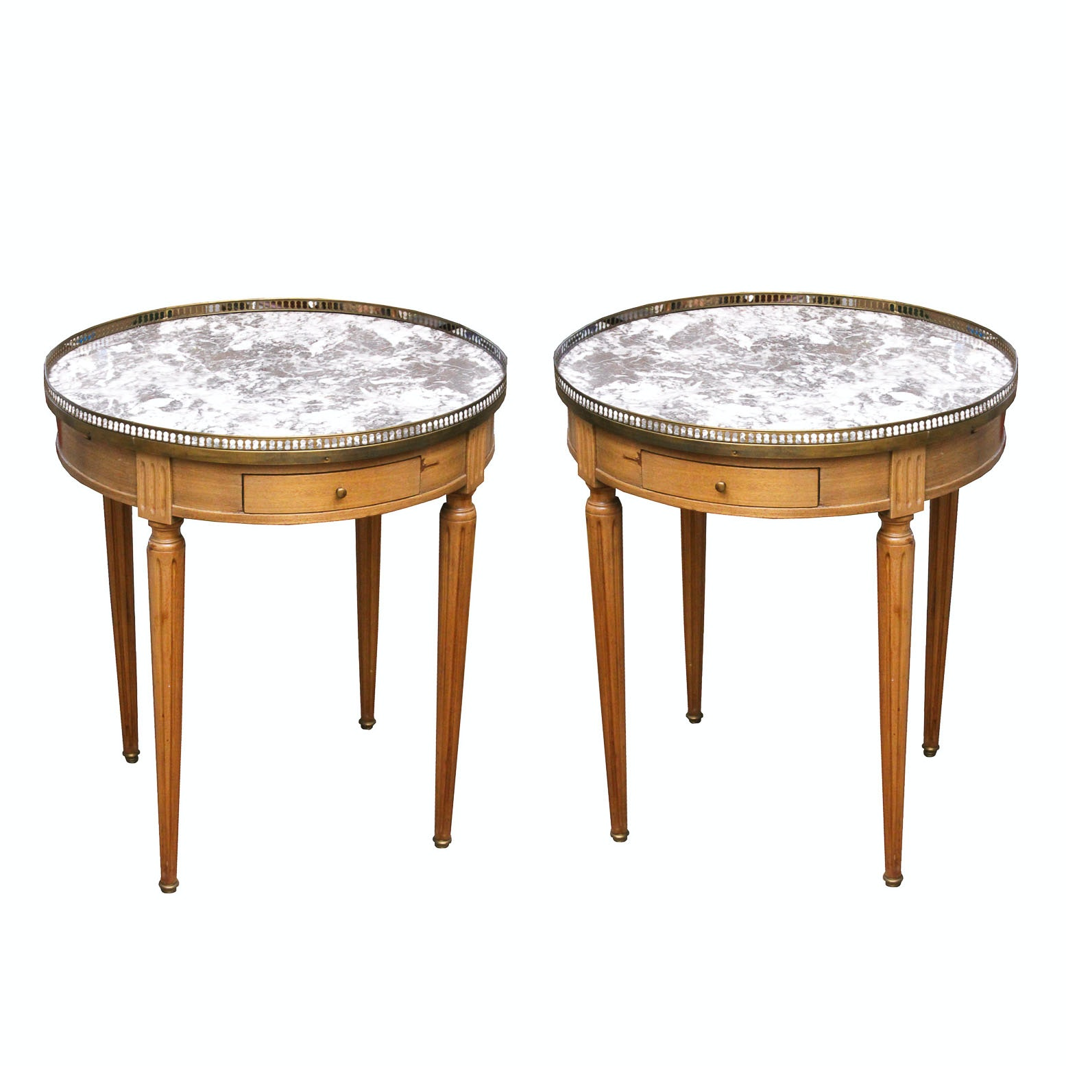 Pair of Louis XVI Style Marble Topped Tables