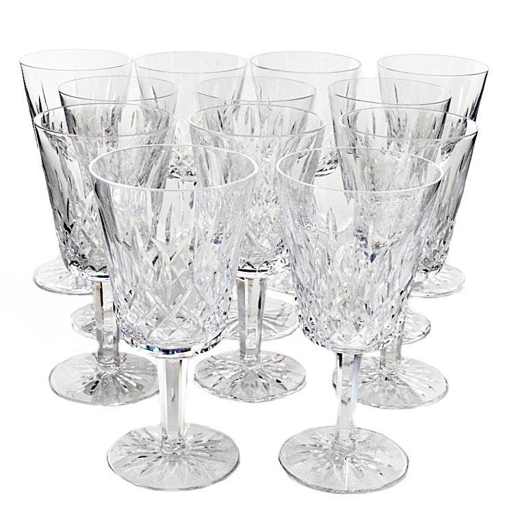 """Waterford """"Lismore"""" Set of Twelve Crystal Water Goblets"""