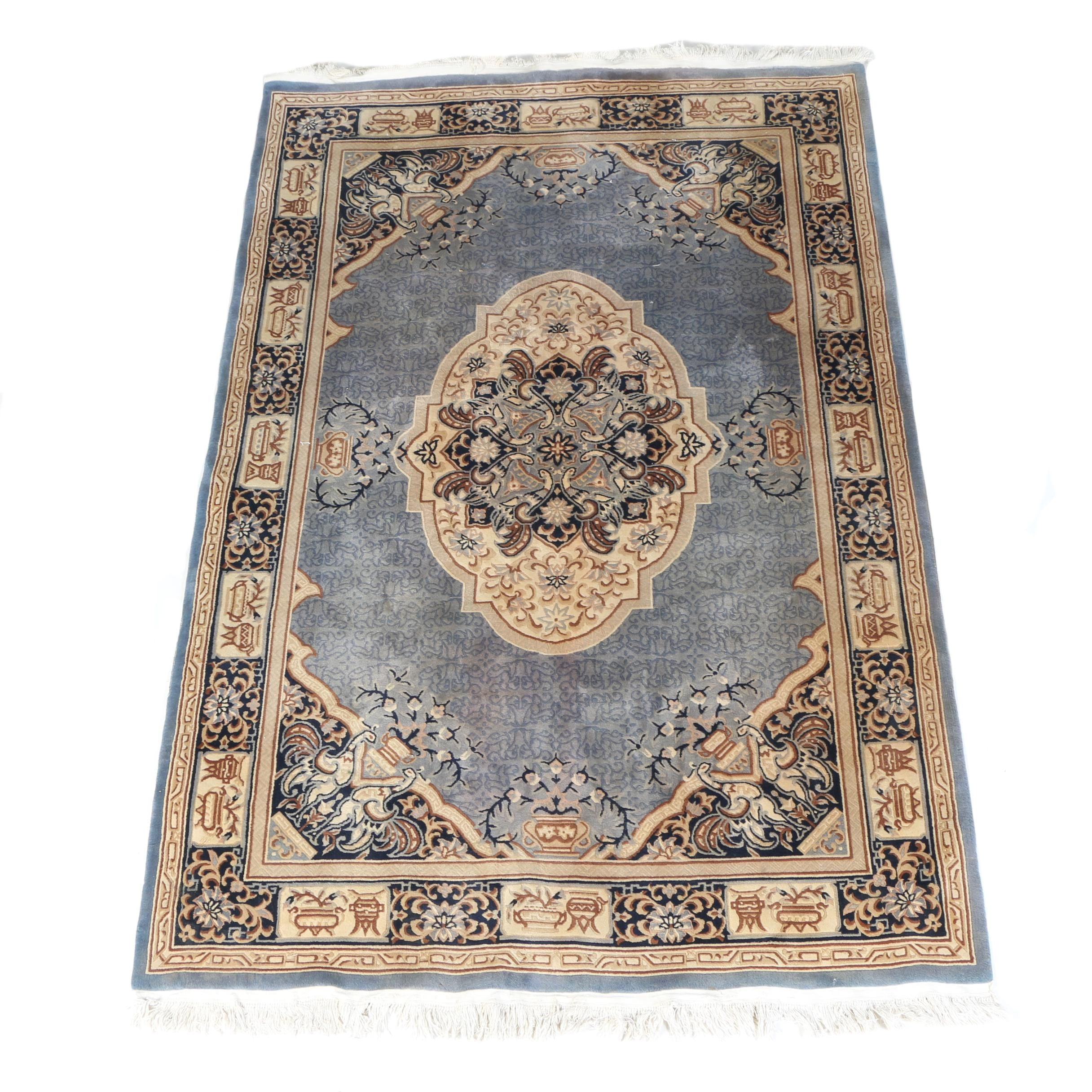 Finely Hand-Knotted Chinese Carved Wool Area Rug