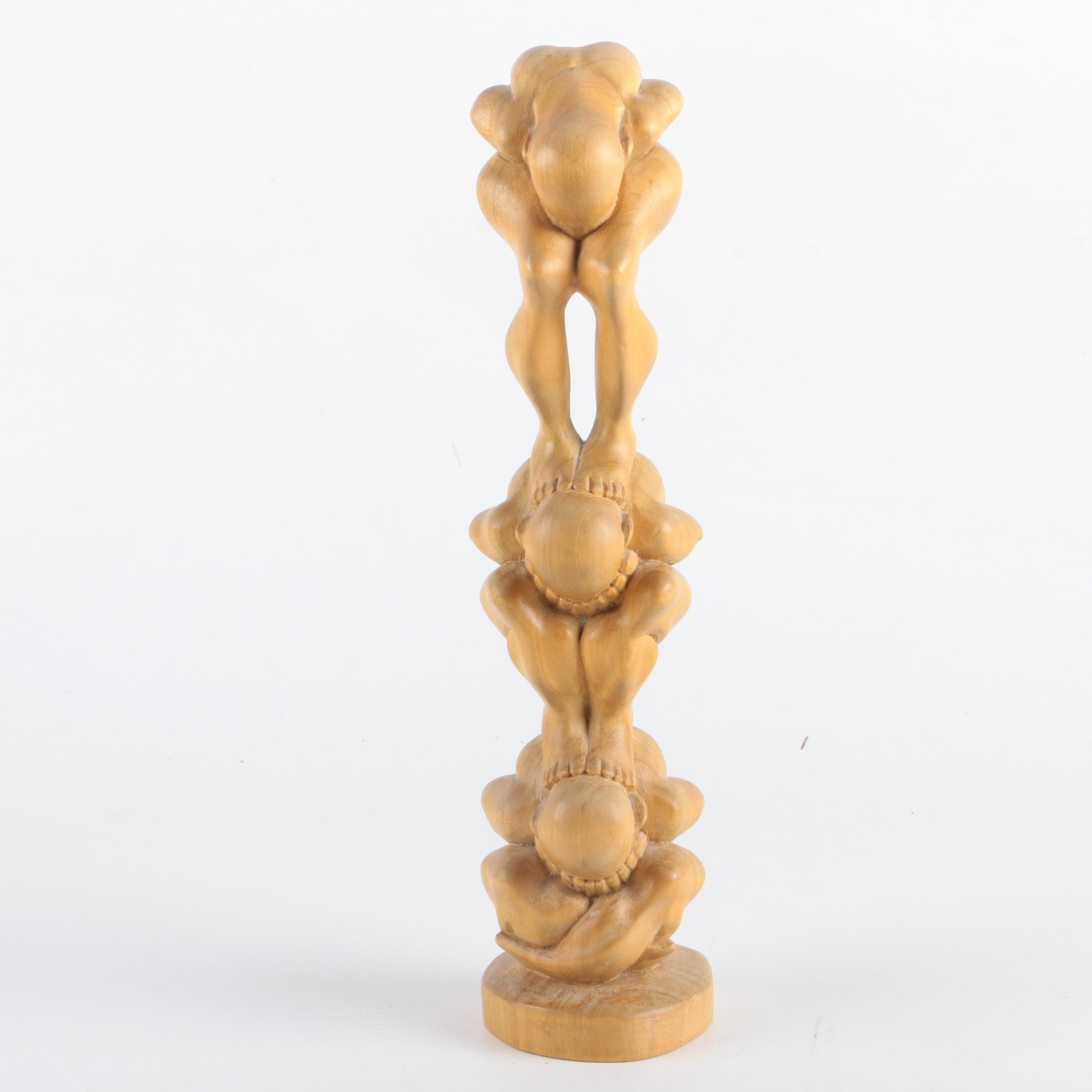 Balinese Wooden Carving of Stacked Nudes