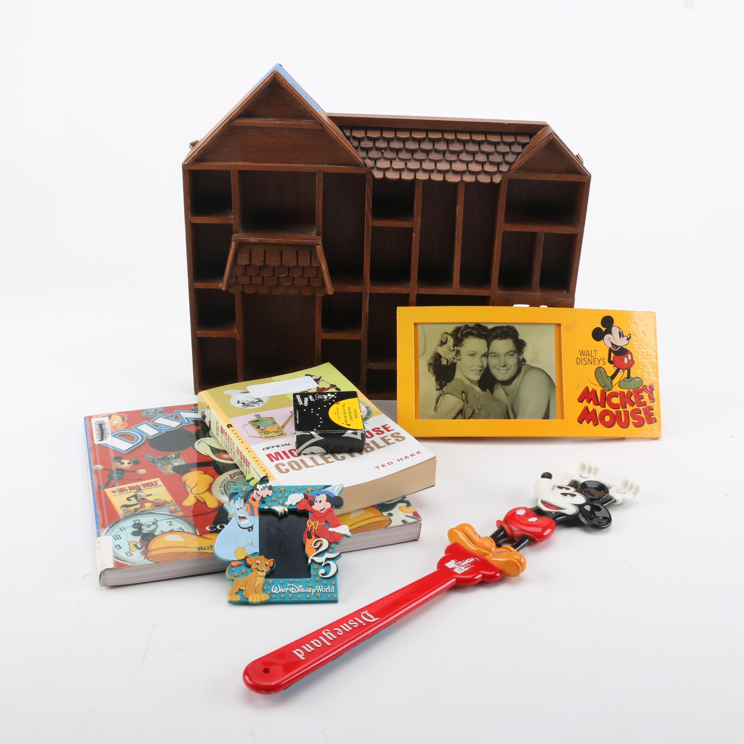 Disney Collectibles And House Shaped Display Shelf