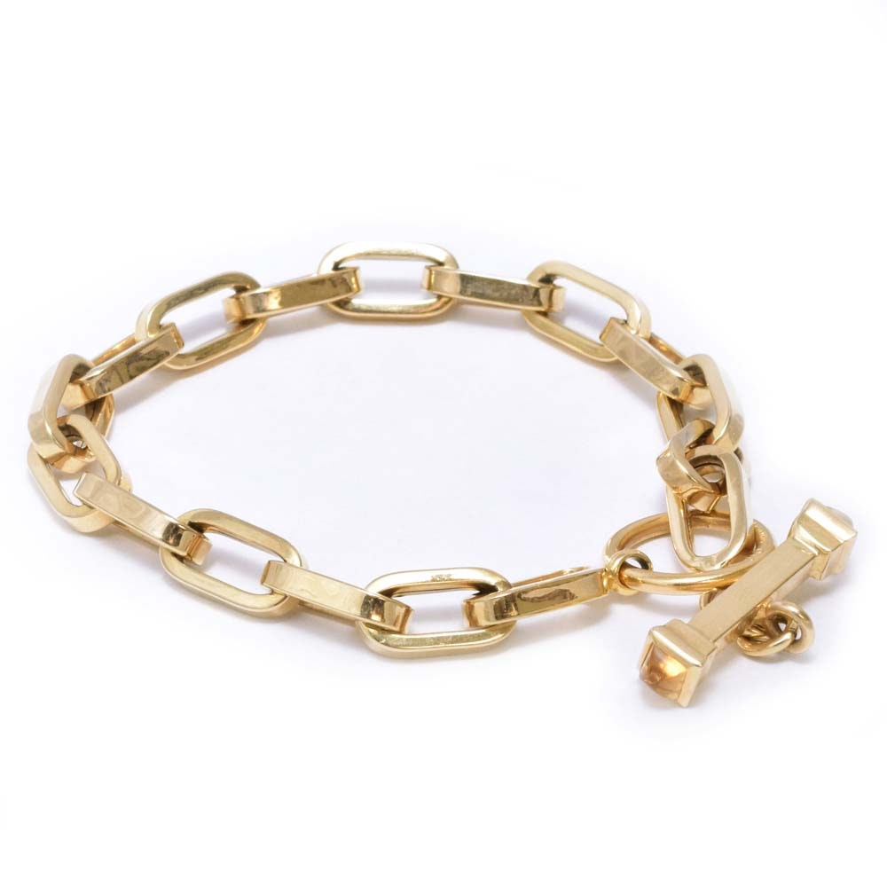 14K Yellow Gold Link Bracelet with Citrine End Caps From Italy