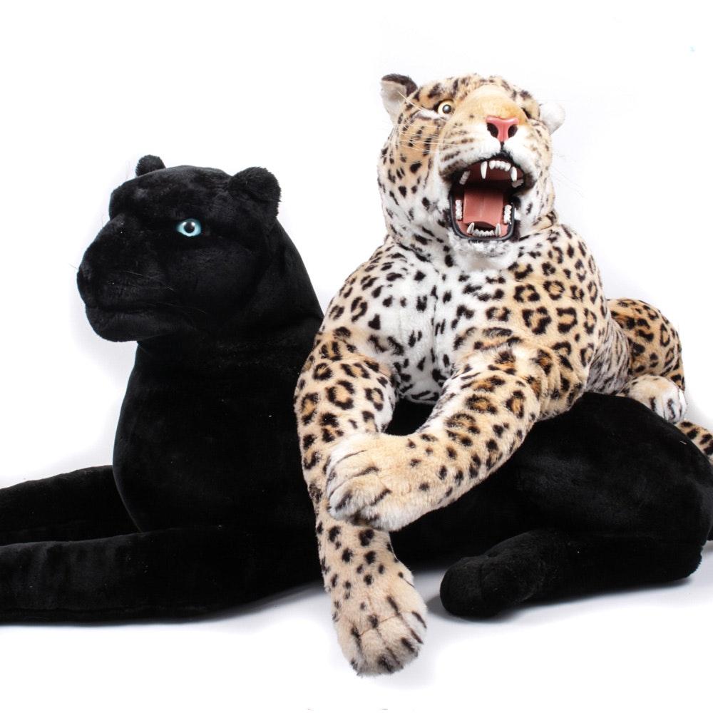 Life Sized Soft Sculpture of Leopard and Black Jaguar