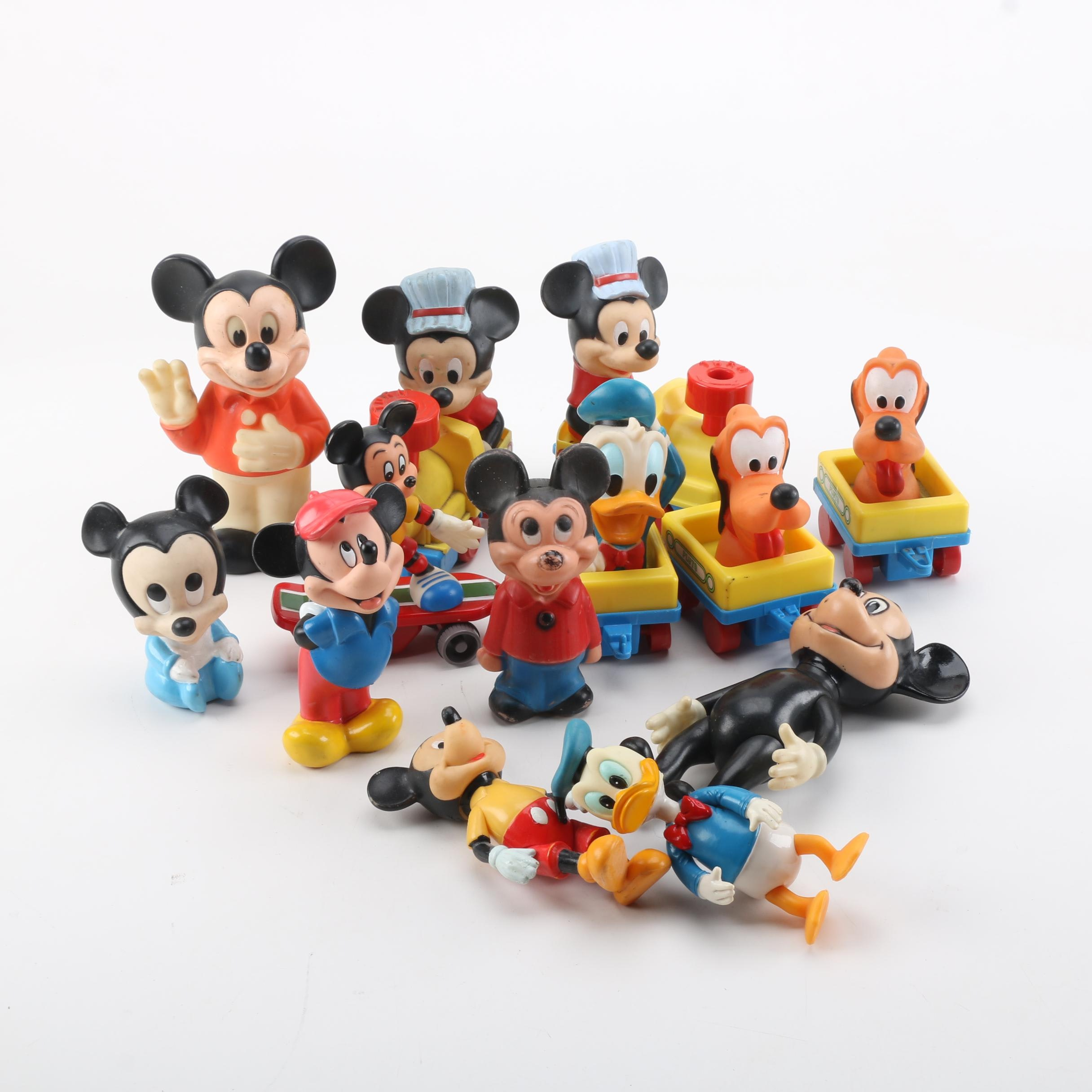 Collection of Disney's Mickey Mouse, Donald Duck, and Pluto Plastic Figurines