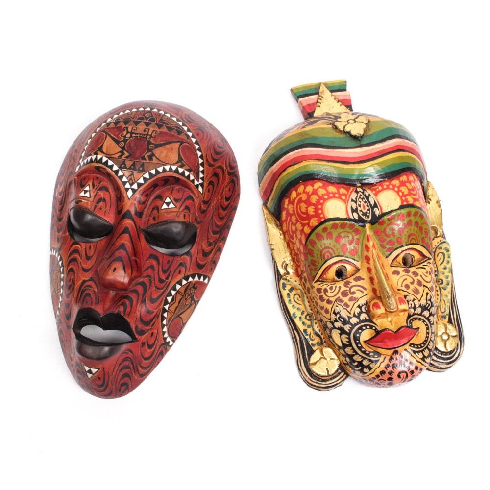 Hand Carved Wooden Indonesian Masks
