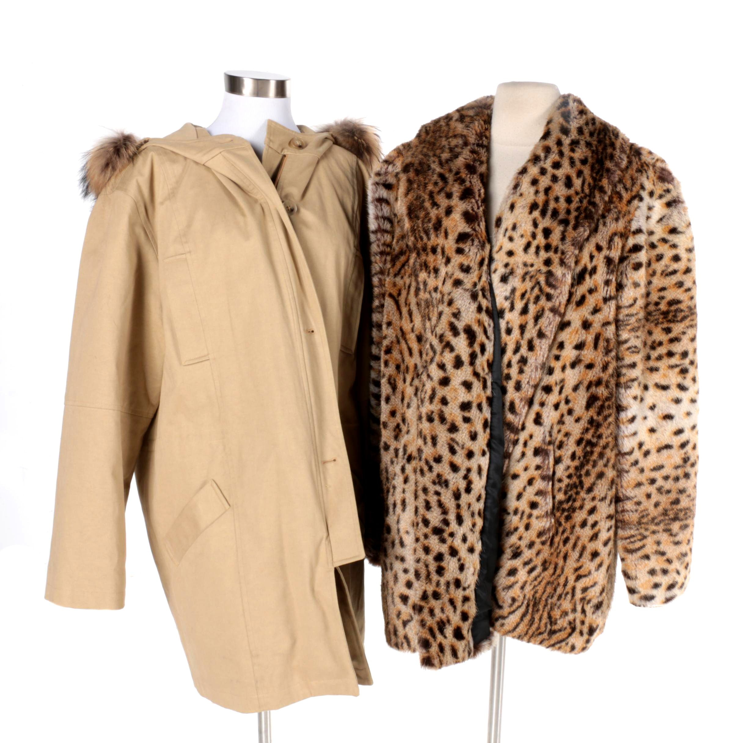 Company Ellen Tracy Coat with Raccoon Trim and Faux Cheetah Fur Jacket