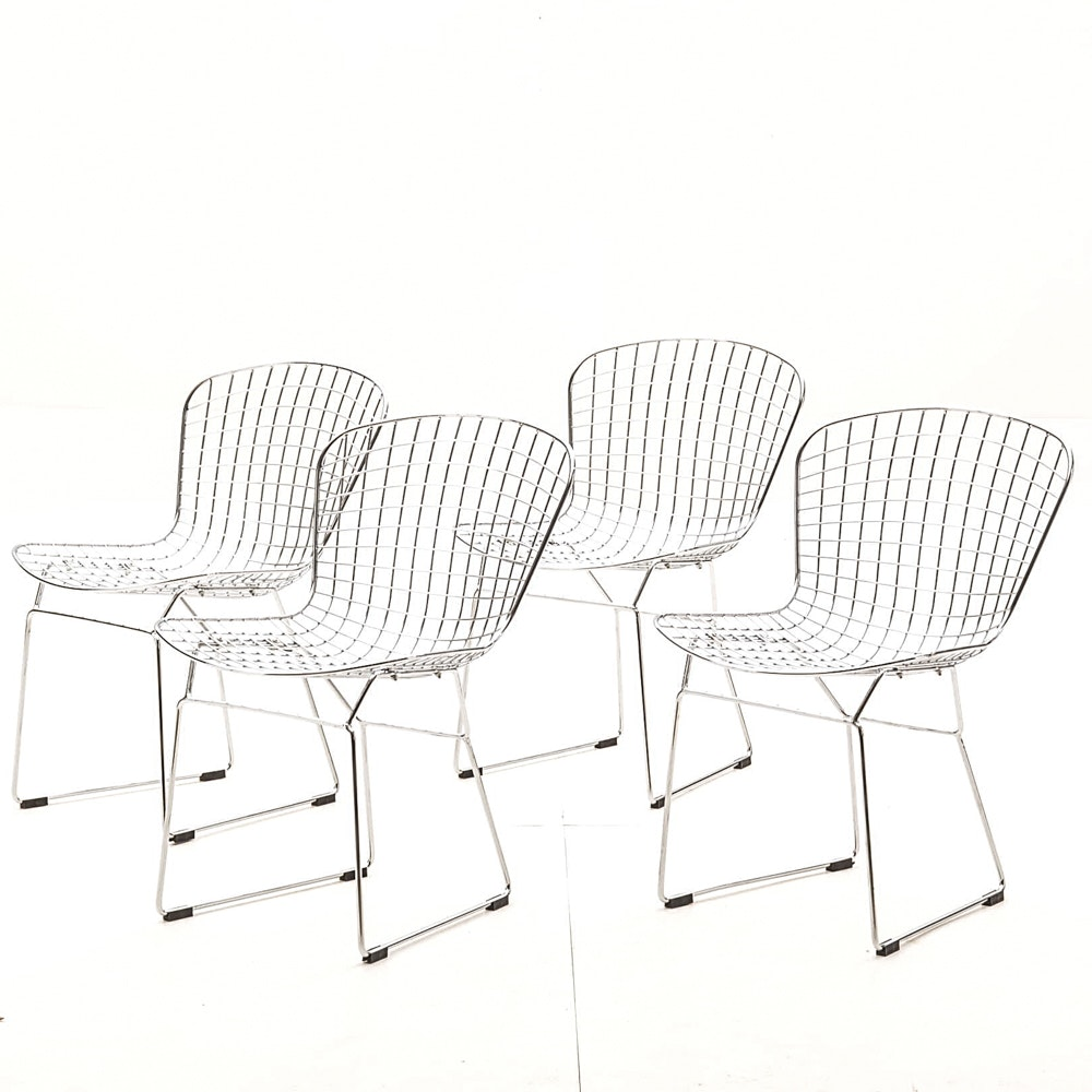 Four Bertoia Style Dining Chairs